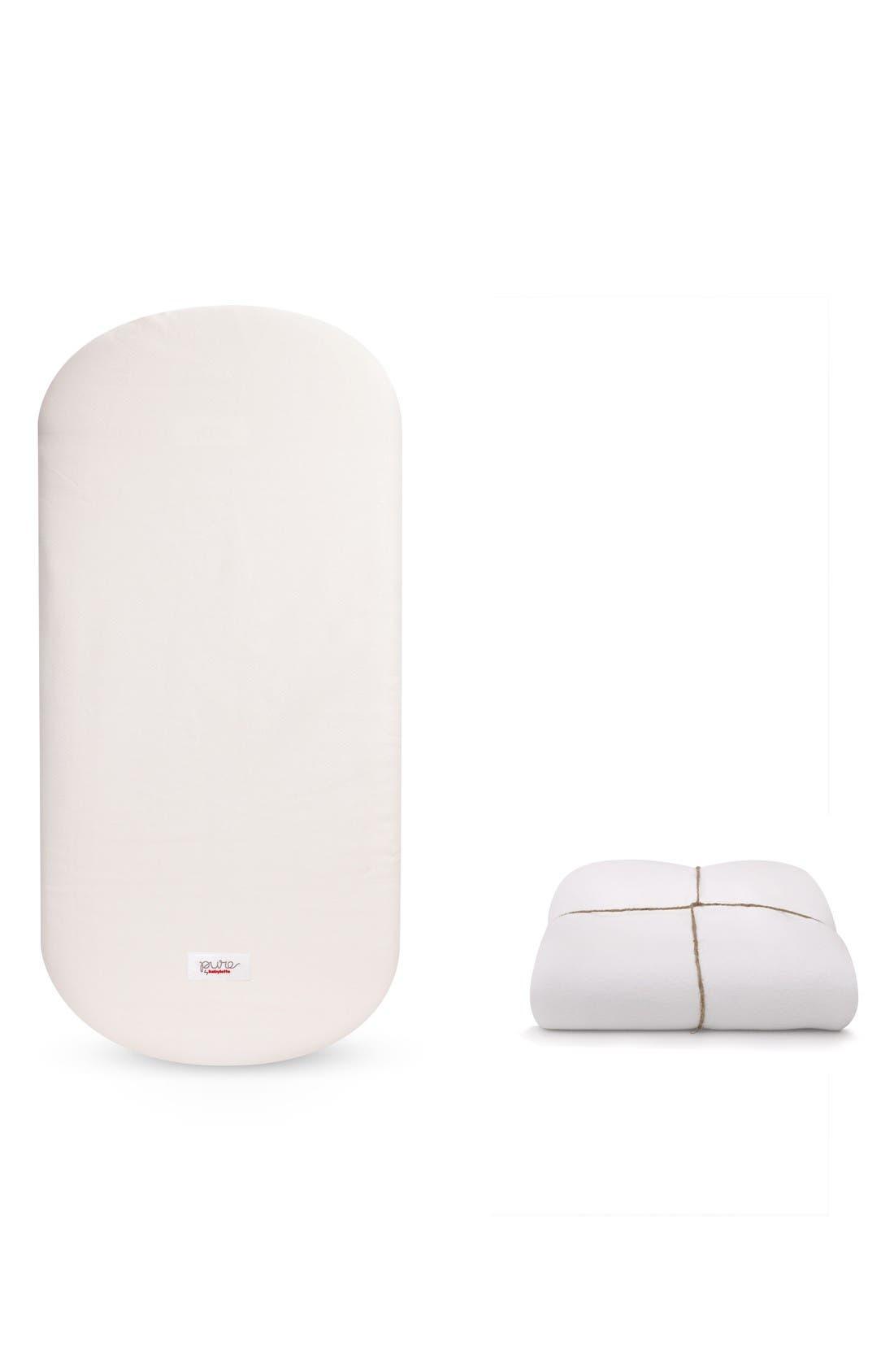 Hula Pure Coco Core Nontoxic Oval Crib Mattress & Water Repellent Cover,                         Main,                         color, White