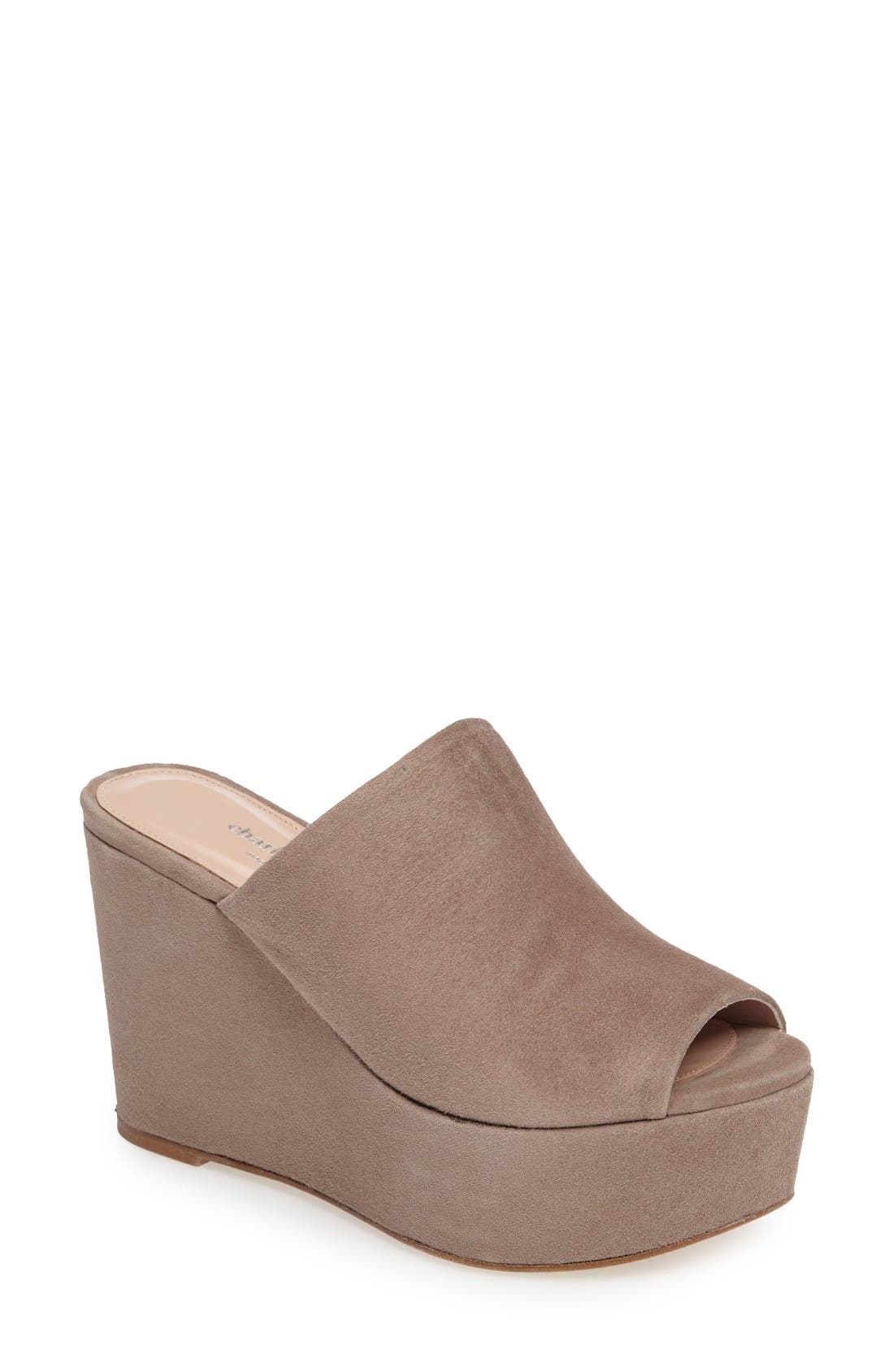 Charles by Charles David Padma Platform Wedge Mule,                             Main thumbnail 1, color,                             Truffle Suede
