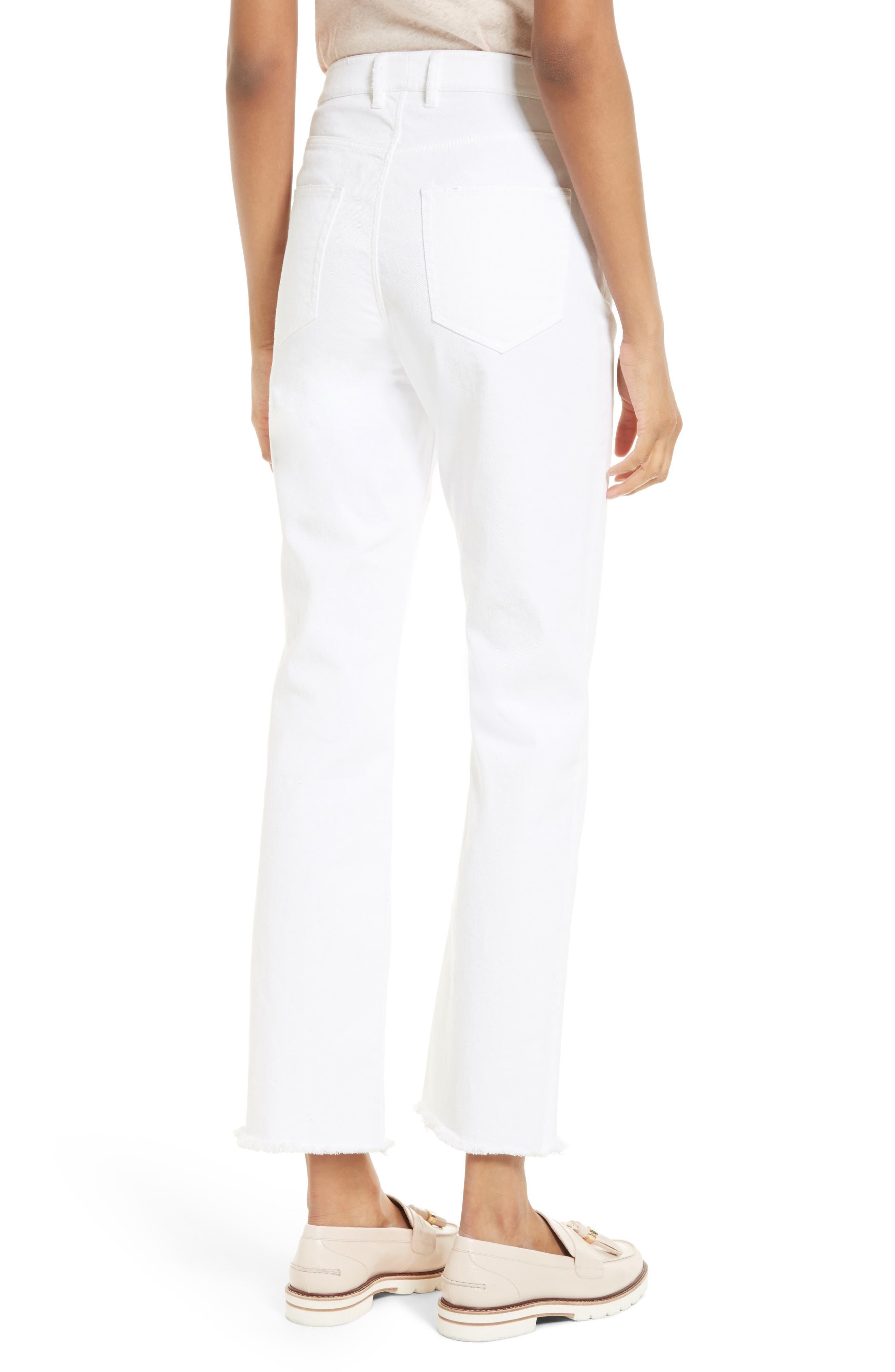 Anais Frayed Hem Wide Leg Crop Jeans,                             Alternate thumbnail 2, color,                             Sea Salt