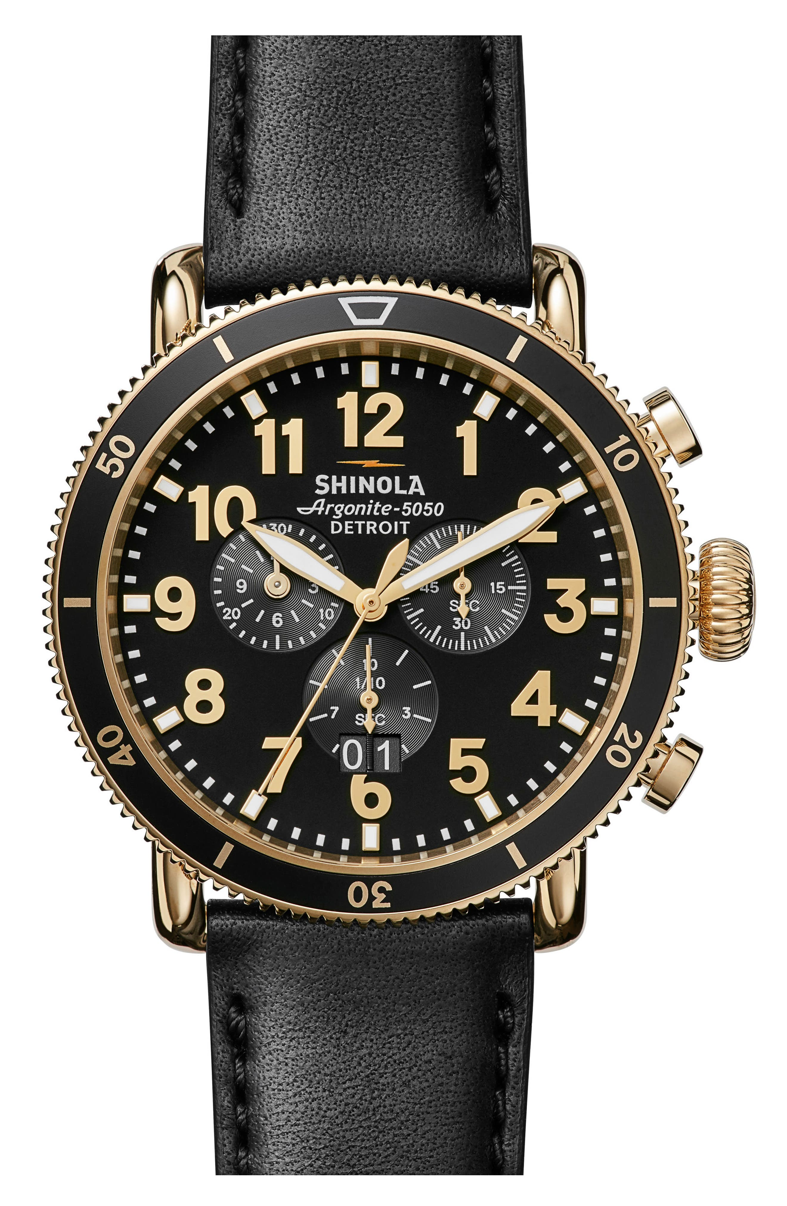 The Runwell Sport Chronograph Watch, 48mm,                             Main thumbnail 1, color,                             Black/ Gold