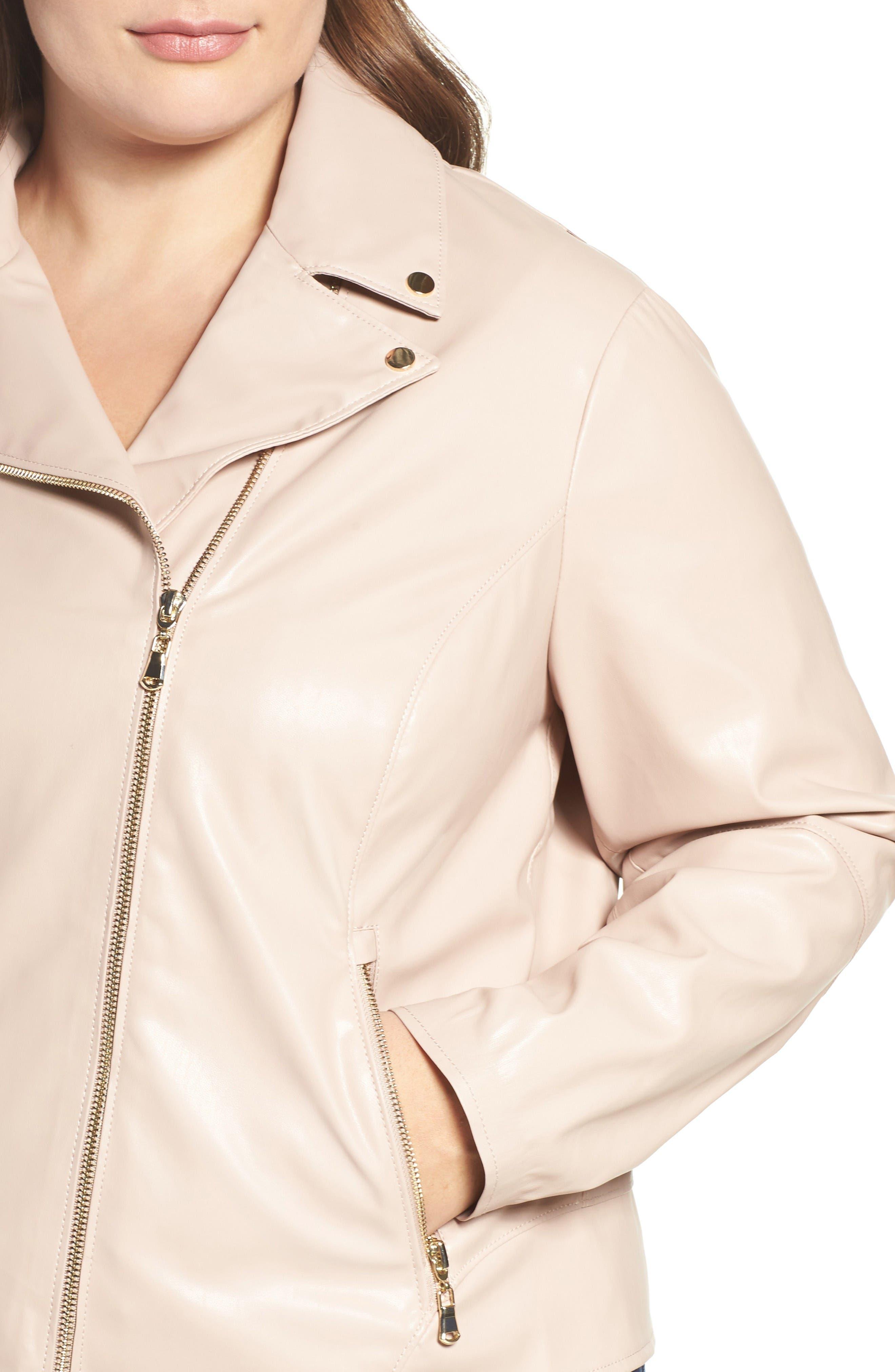 Mollie Faux Leather Jacket,                             Alternate thumbnail 4, color,                             Rose Dust