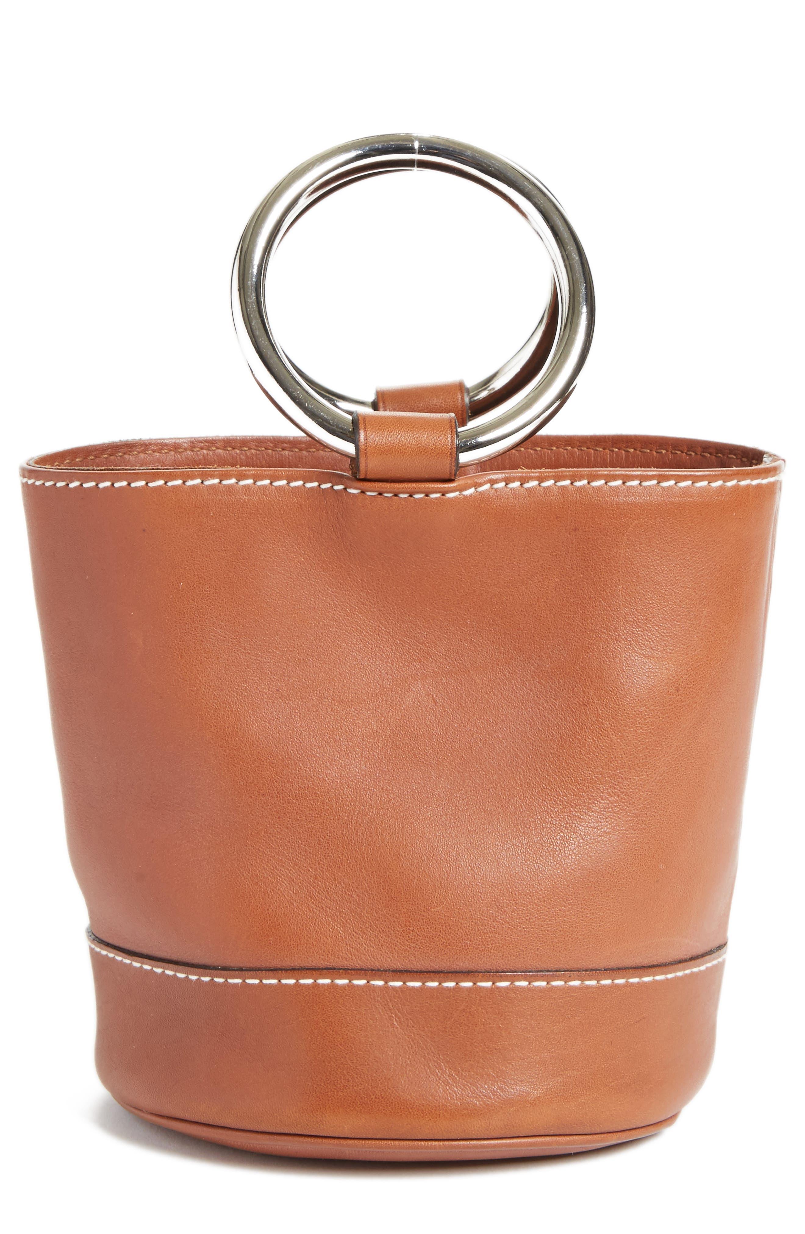 Bonsai Pebbled Leather Bucket Bag,                             Main thumbnail 1, color,                             Tan