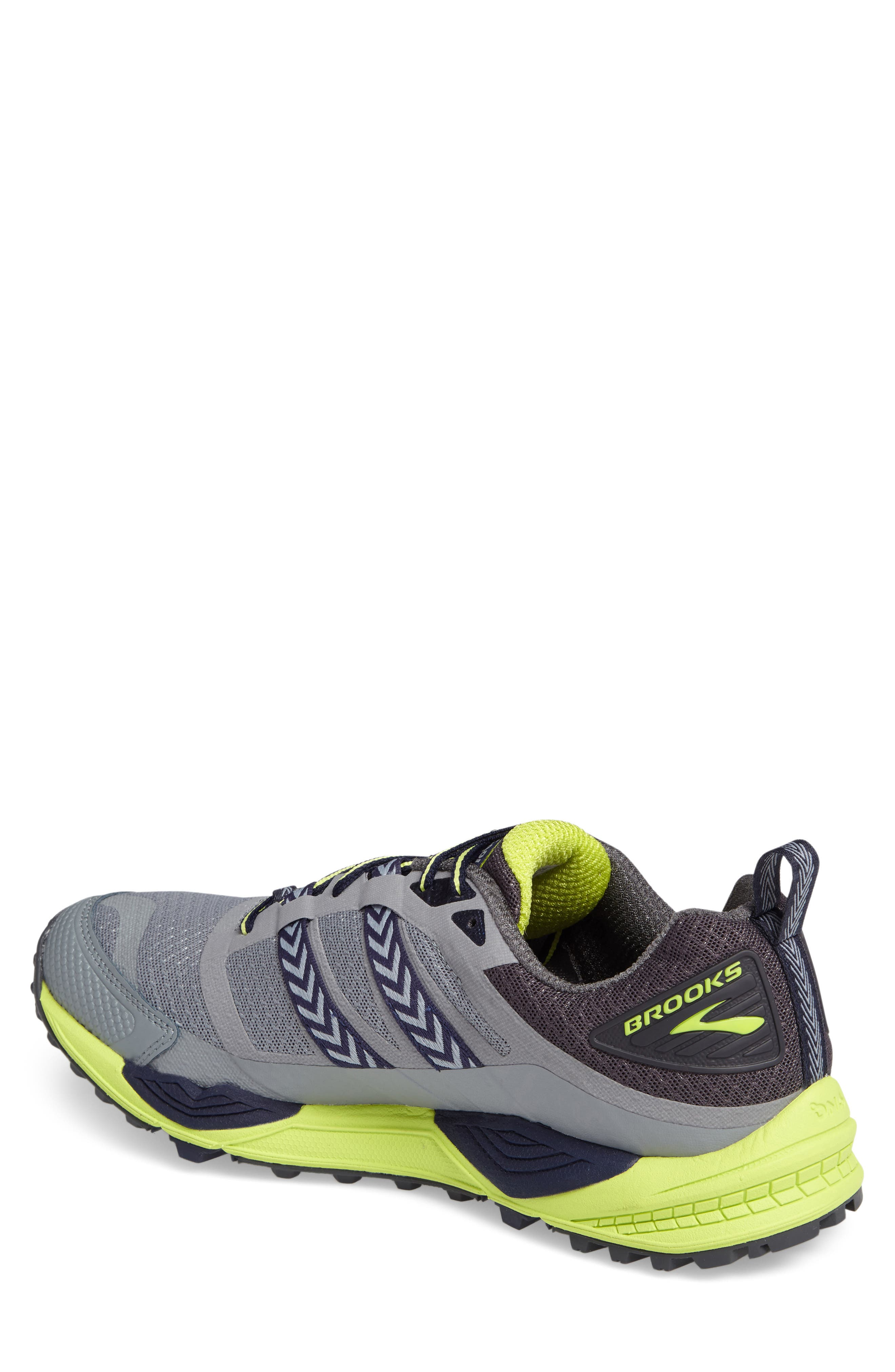 Cascadia 12 Trail Running Shoe,                             Alternate thumbnail 2, color,                             Grey/ Anthracite/ Lime Punch