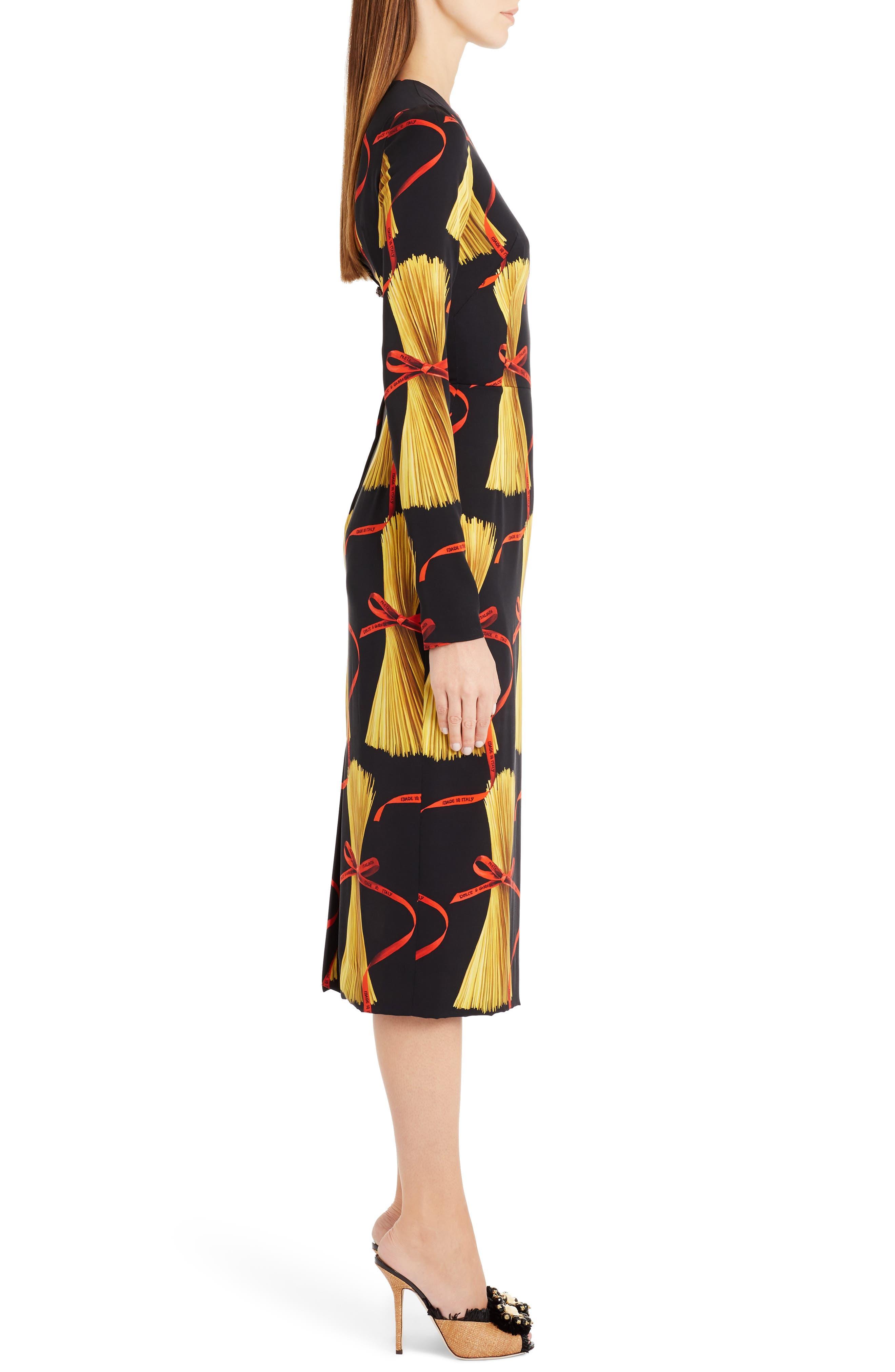 Alternate Image 4  - Dolce&Gabbana Pasta Print Stretch Silk Dress