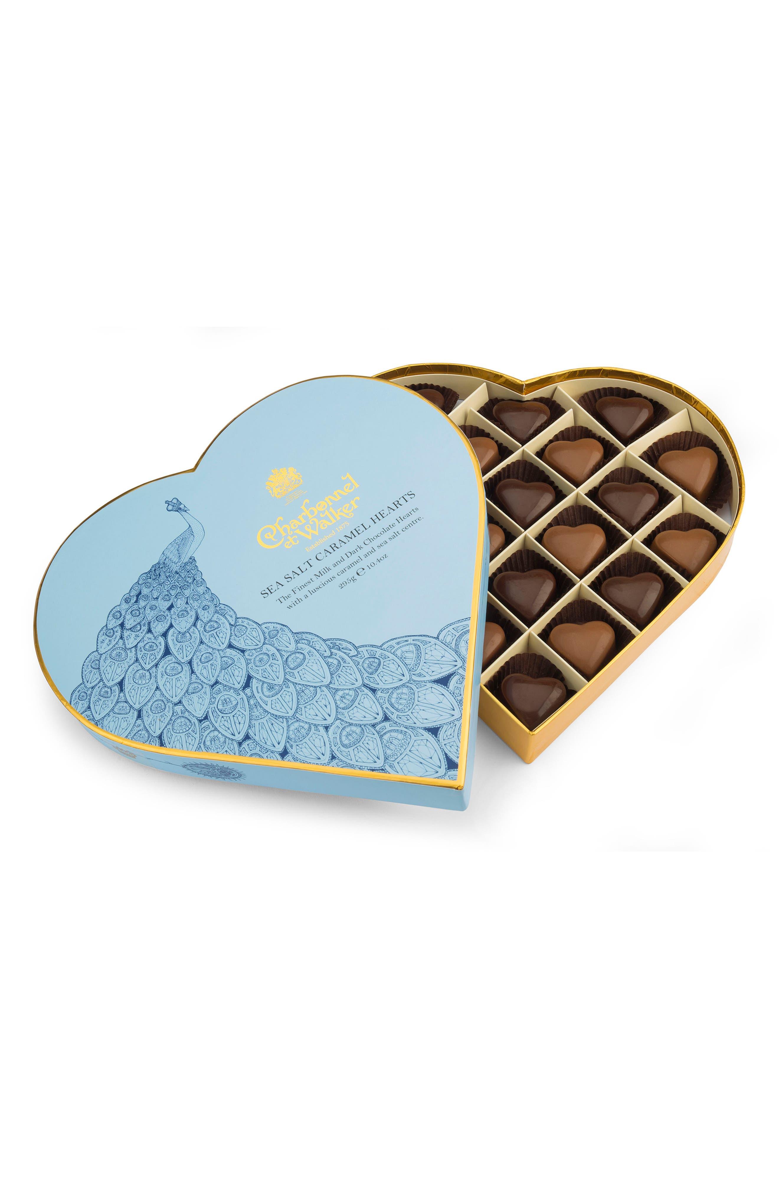 Sea Salt Caramel Chocolates in Heart Shaped Gift Box,                         Main,                         color, Blue