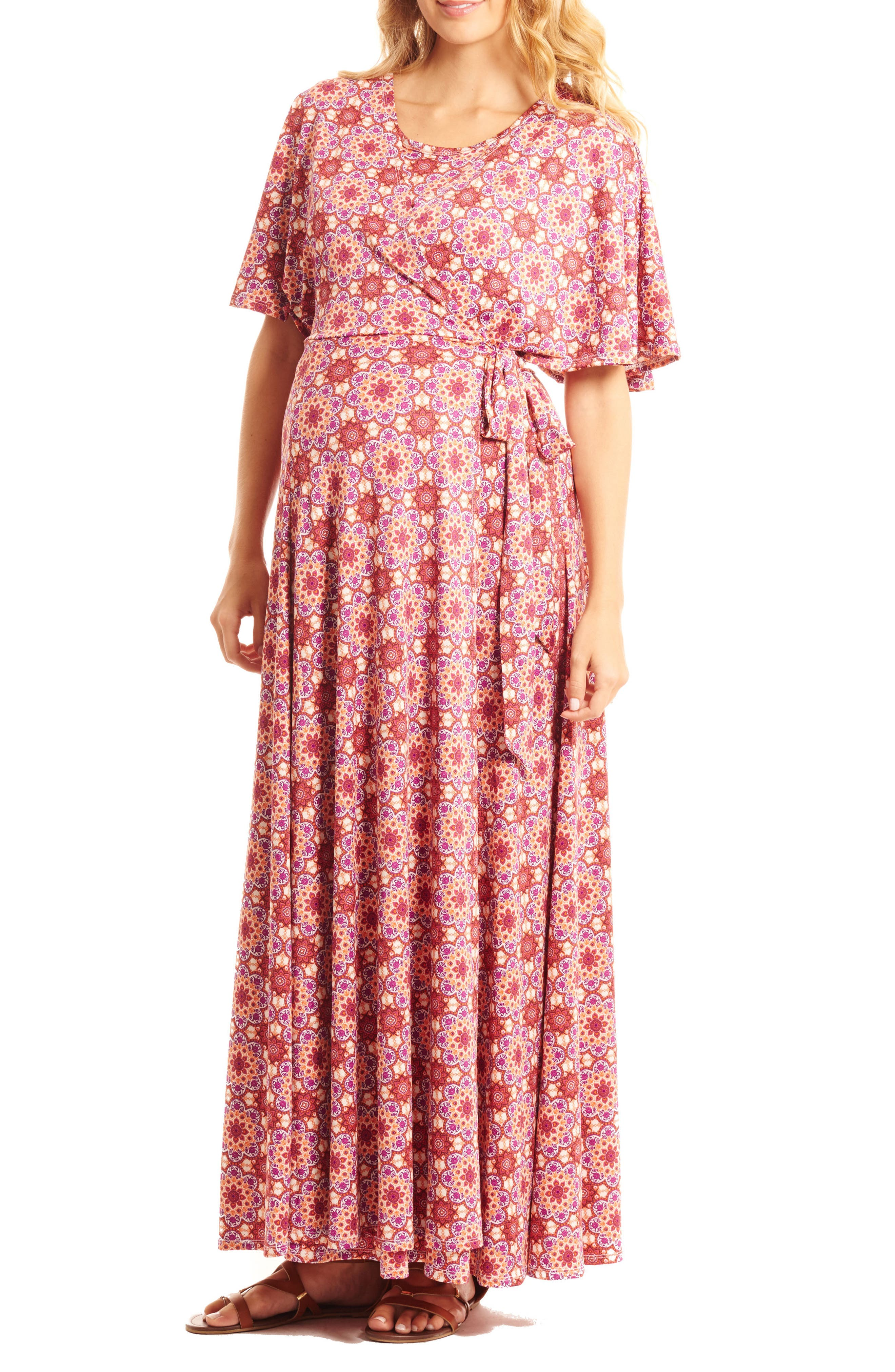 Asa Maternity/Nursing Maxi Wrap Dress,                             Alternate thumbnail 4, color,                             Sangria