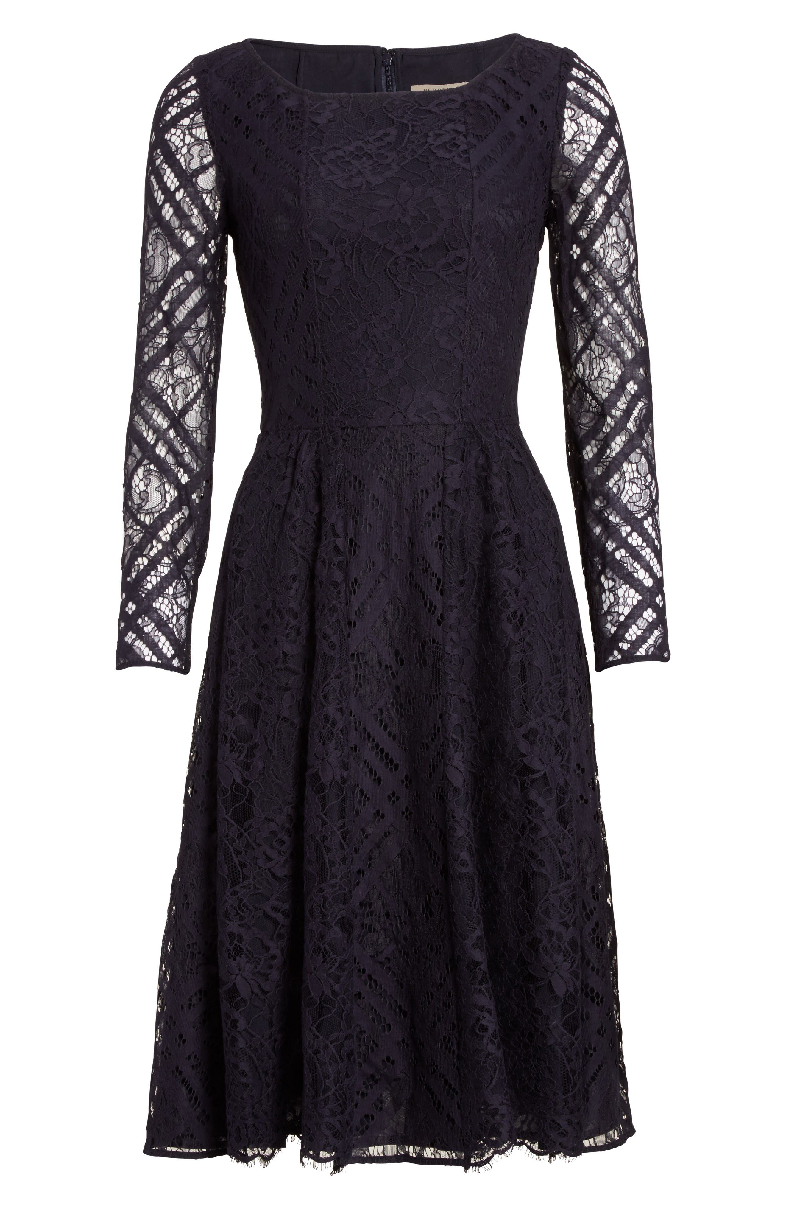 Liliana Lace Fit & Flare Dress,                             Alternate thumbnail 4, color,                             Navy