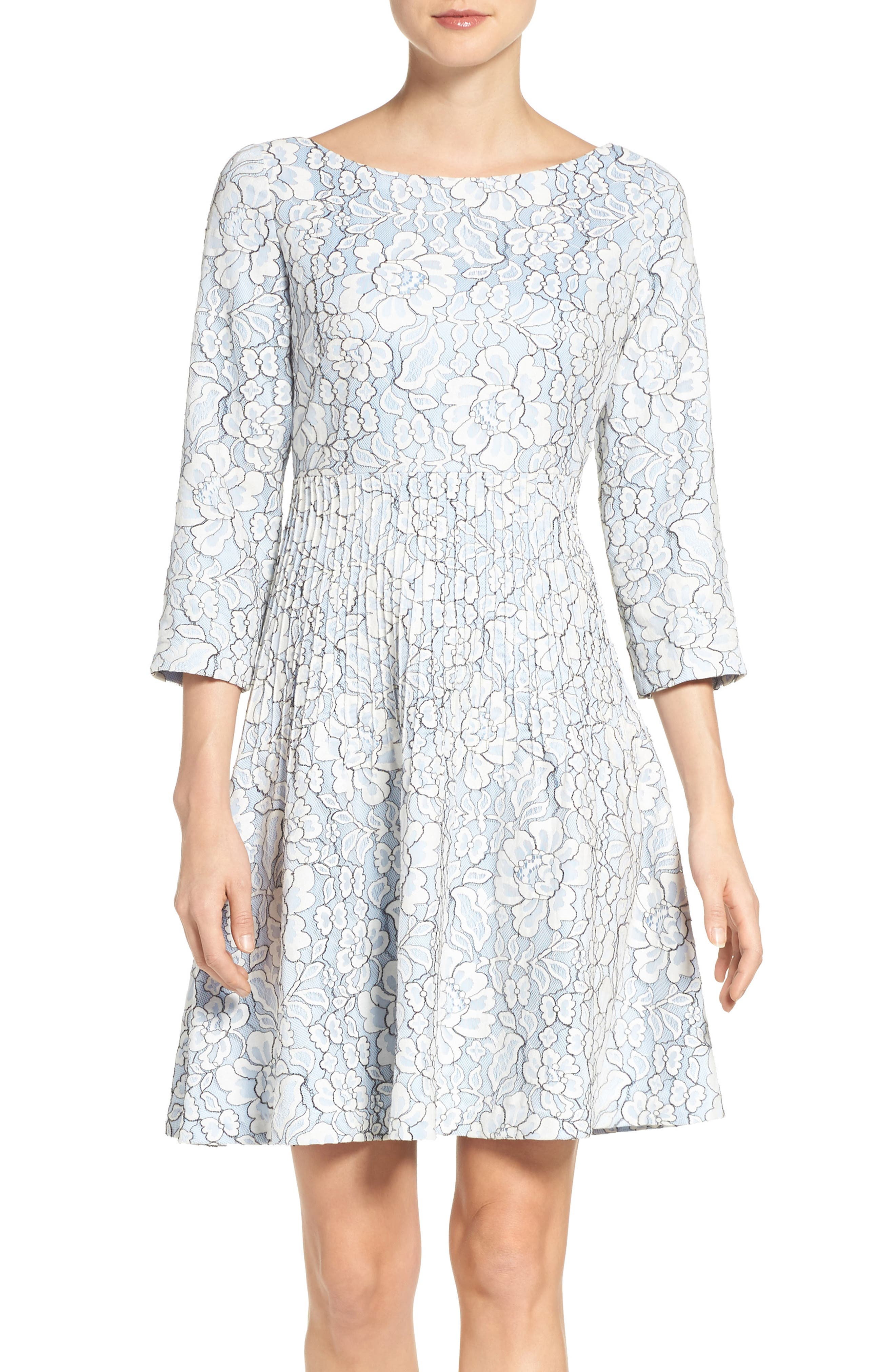 Embroidered Floral Fit & Flare Dress,                         Main,                         color, Ivory/ Blue