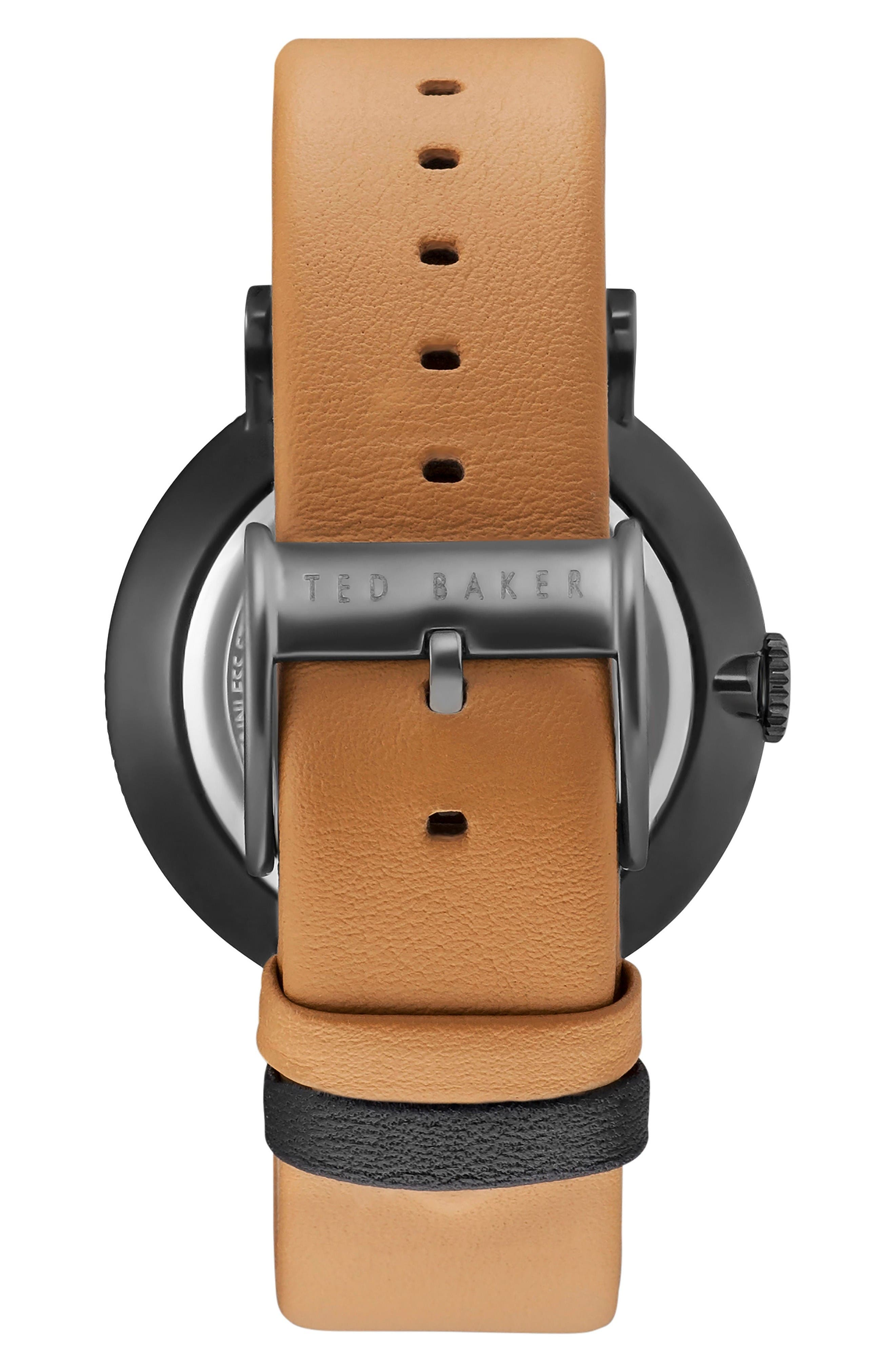 Connor Leather Strap Watch, 42mm,                             Alternate thumbnail 2, color,                             Gunmetal/Tan