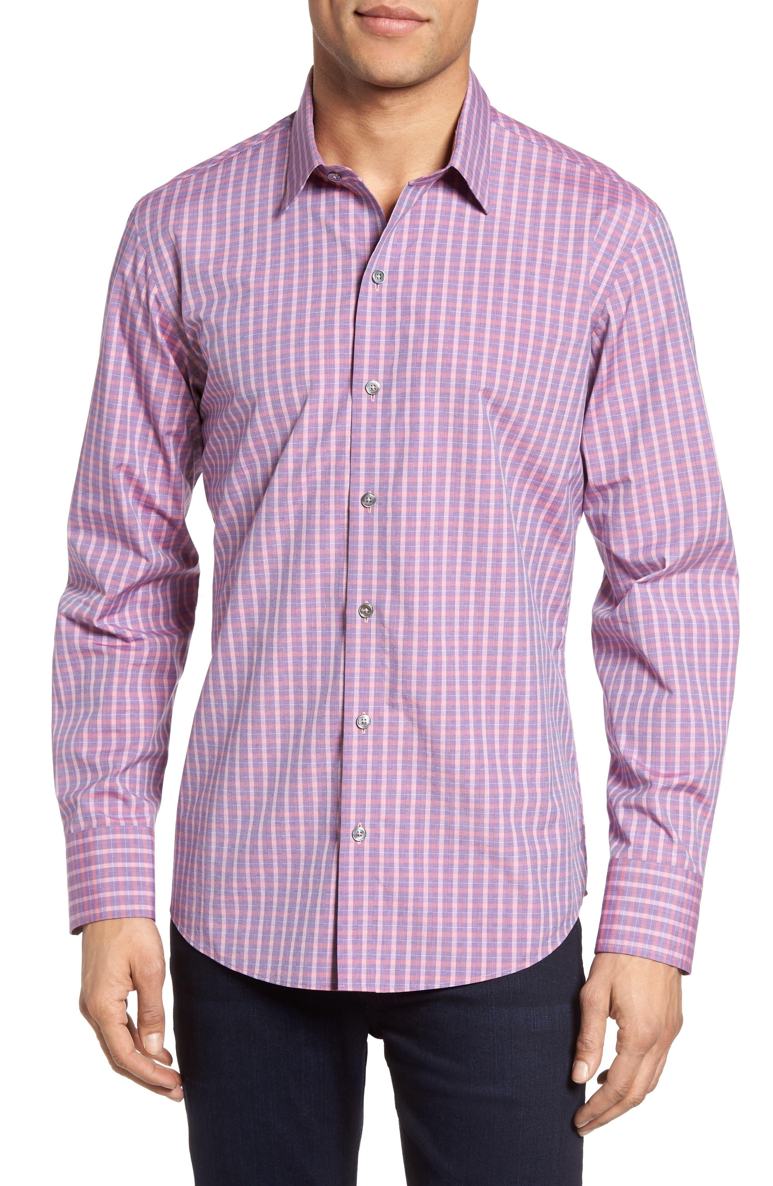 Trim Fit Plaid Sport Shirt,                         Main,                         color, Pink