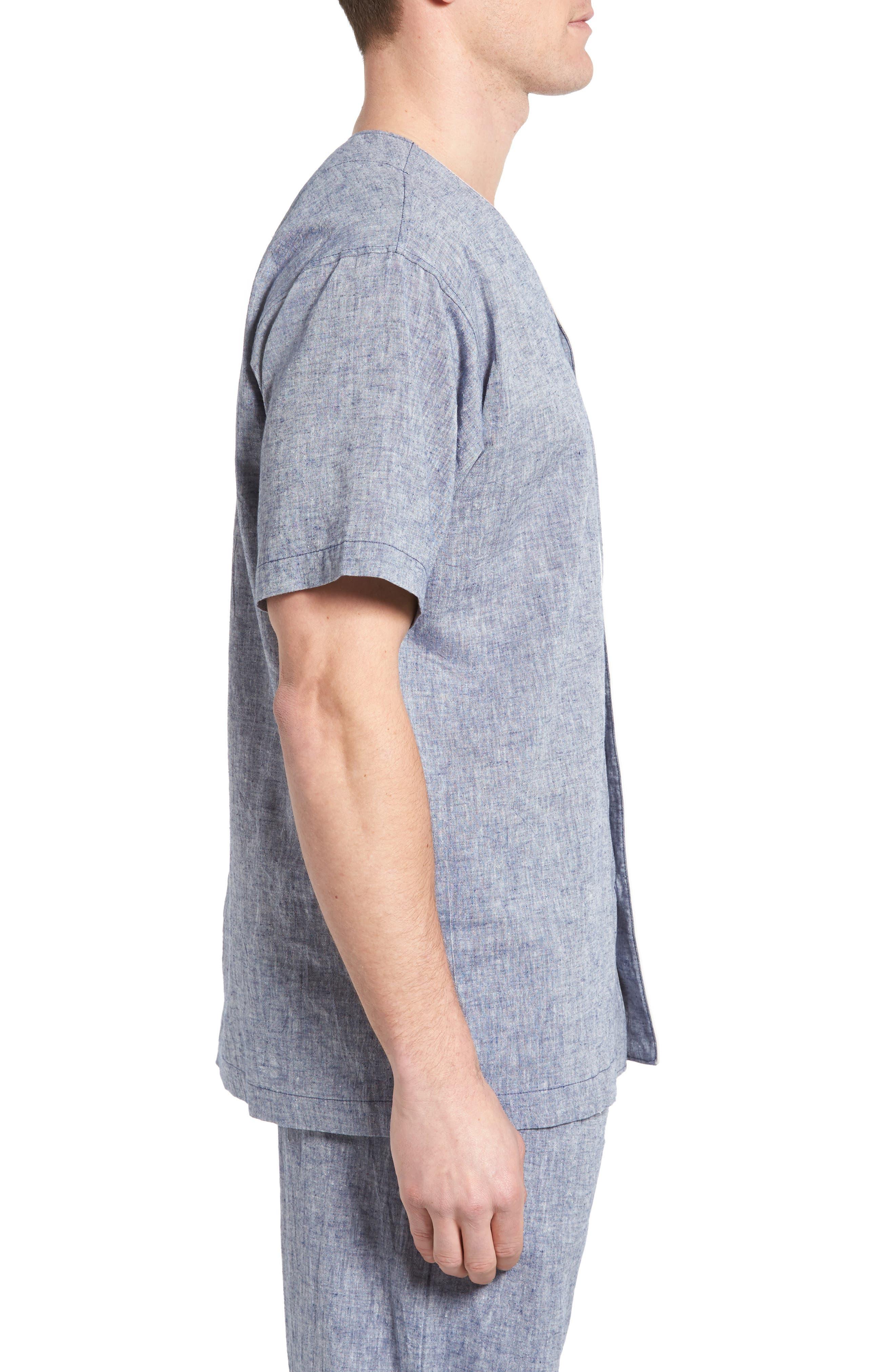 Linen & Cotton Pajama Shirt,                             Alternate thumbnail 3, color,                             Blue