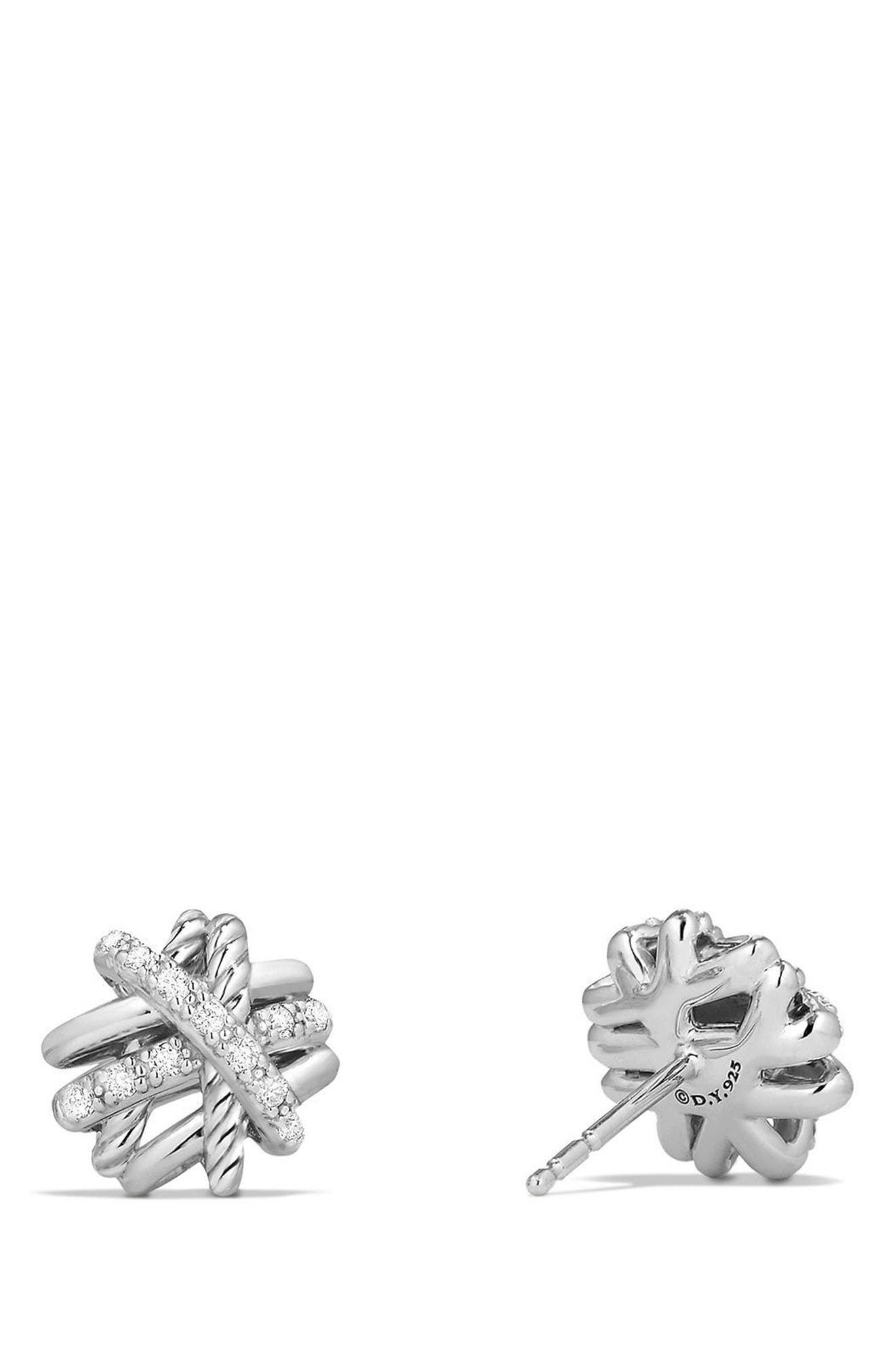 Crossover Stud Earrings with Diamonds,                             Alternate thumbnail 2, color,                             Silver/ Gold