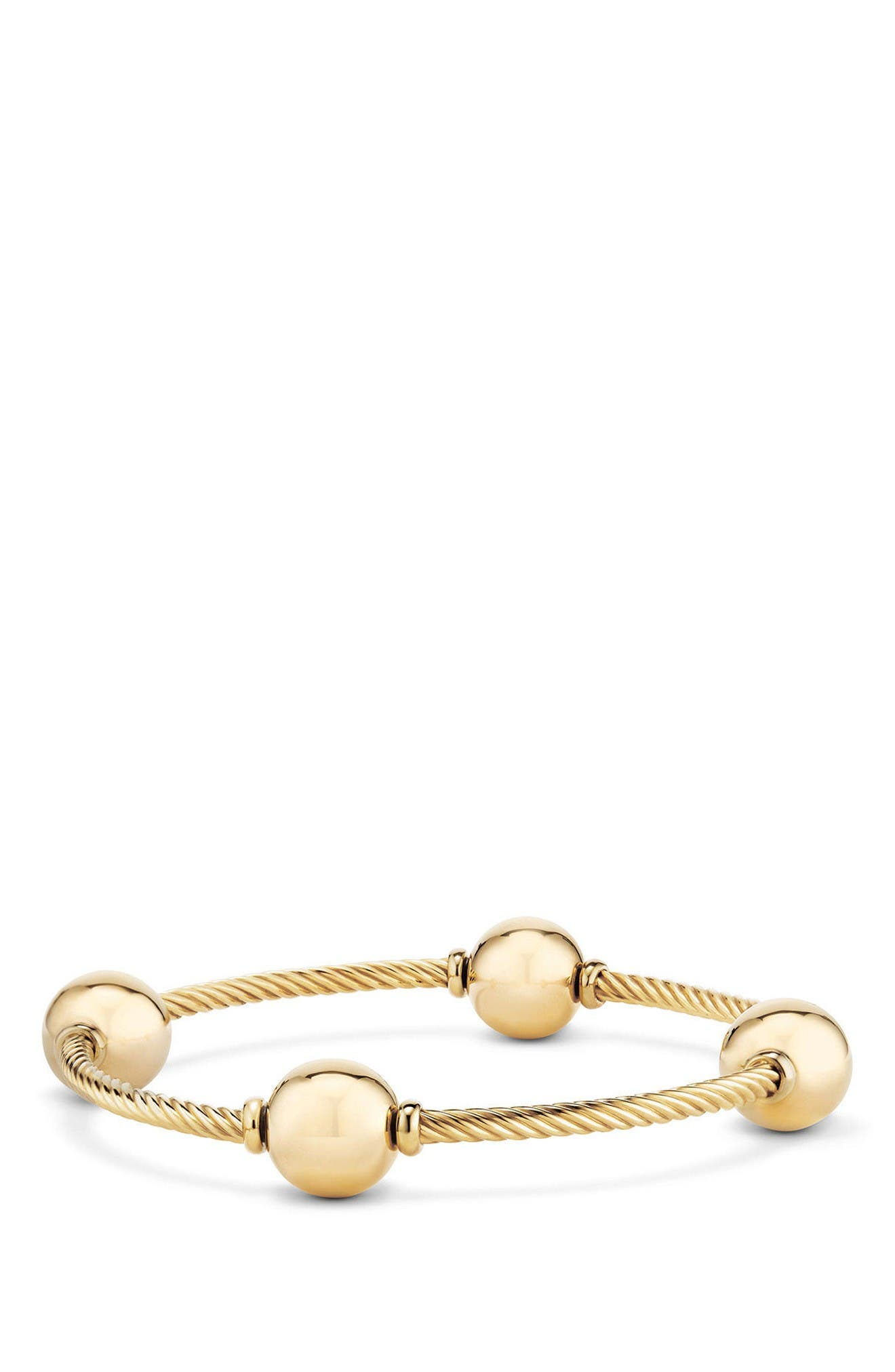 Mustique Four Station Bangle Bracelet in 18K Gold,                         Main,                         color, Yellow Gold/ Gold Dome