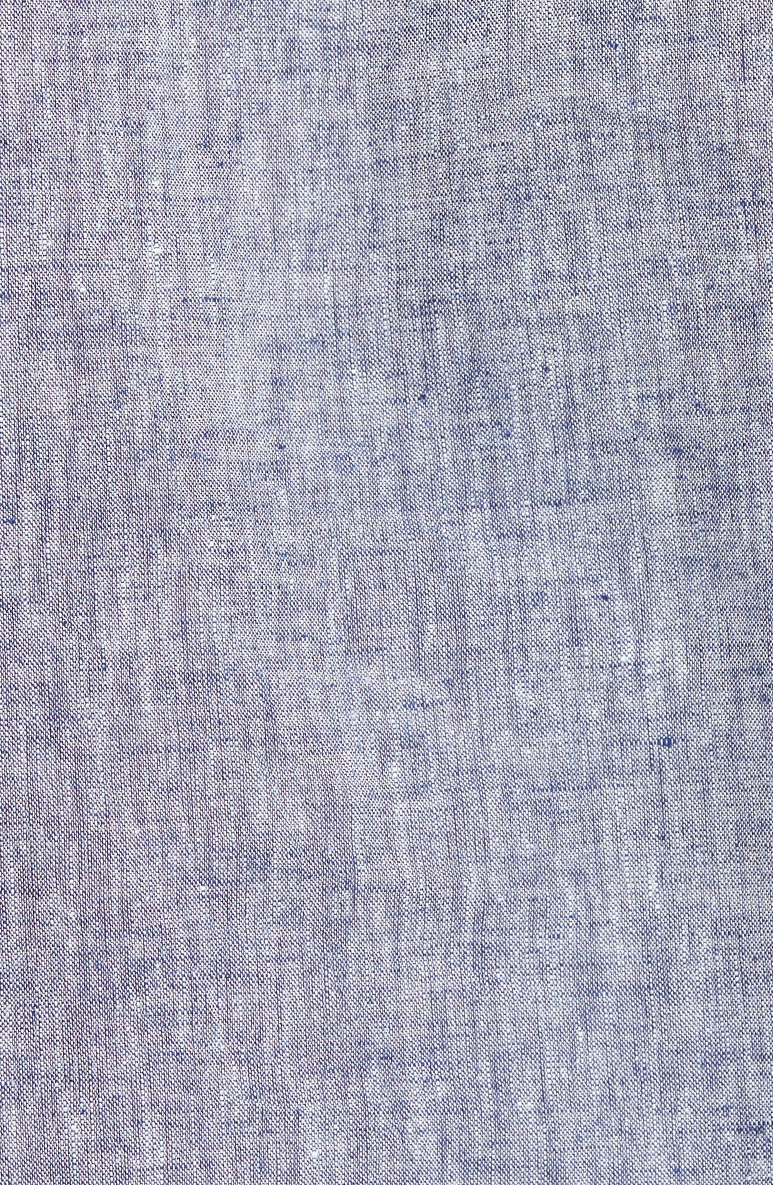 Linen & Cotton Pajama Shirt,                             Alternate thumbnail 5, color,                             Blue