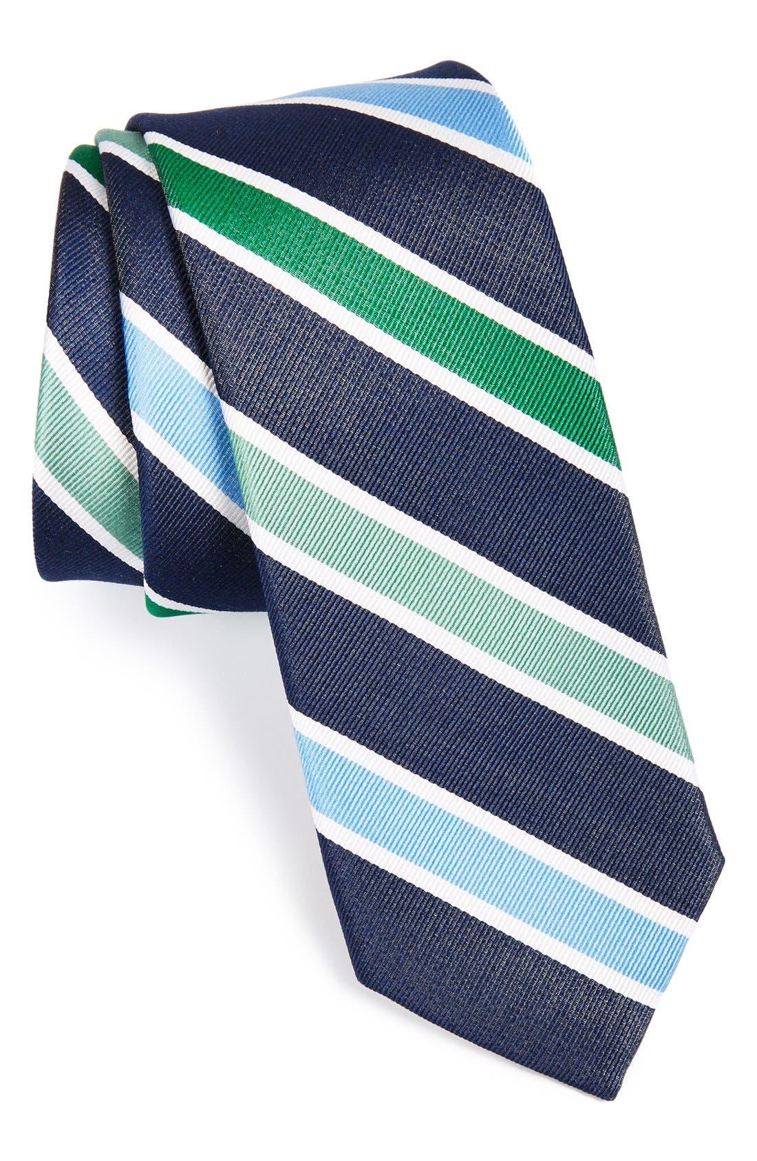 'Como Stripe' Woven Silk Tie,                         Main,                         color, Green