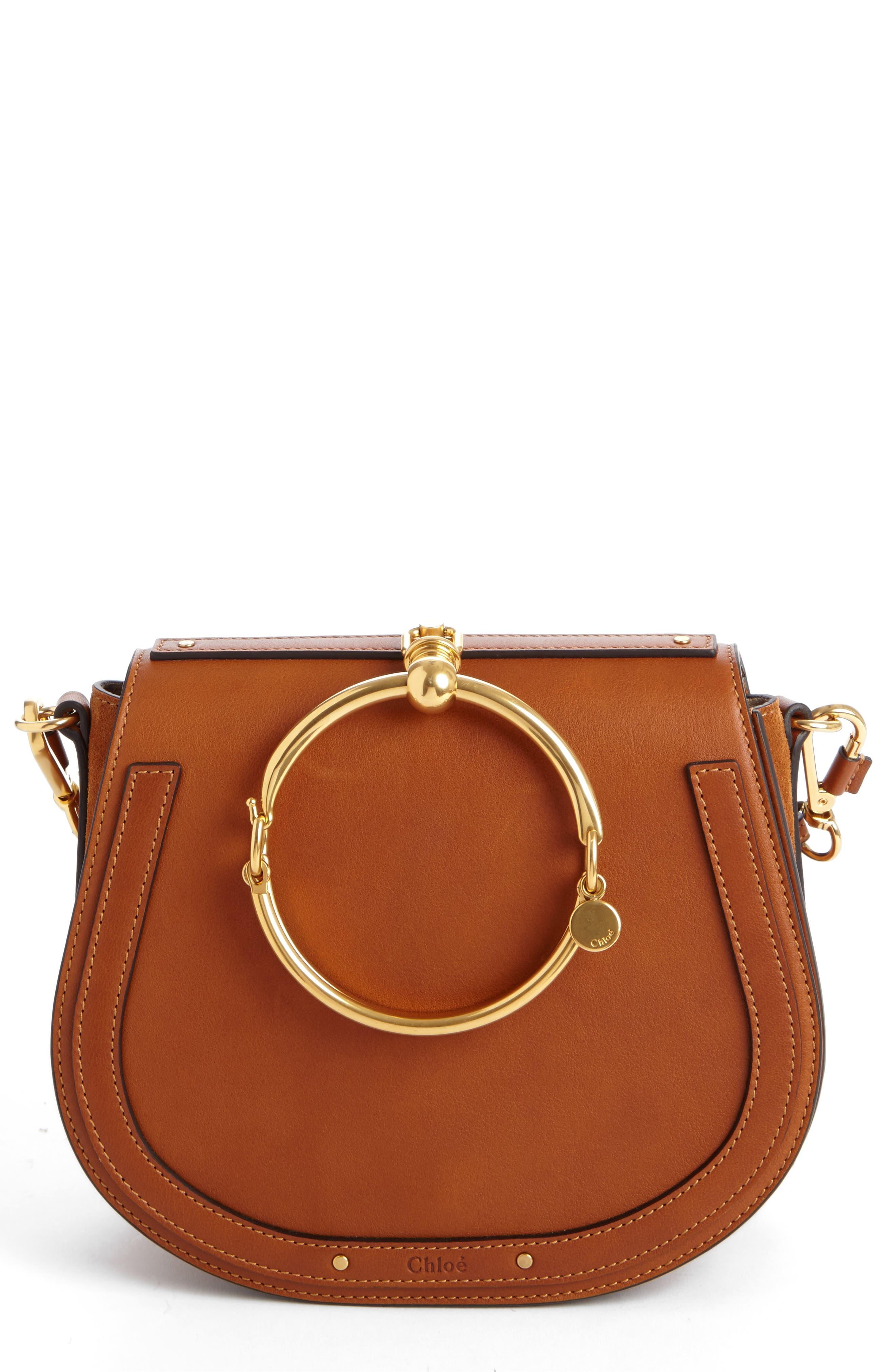Medium Nile Leather Bracelet Saddle Bag,                         Main,                         color, Bdu Caramel