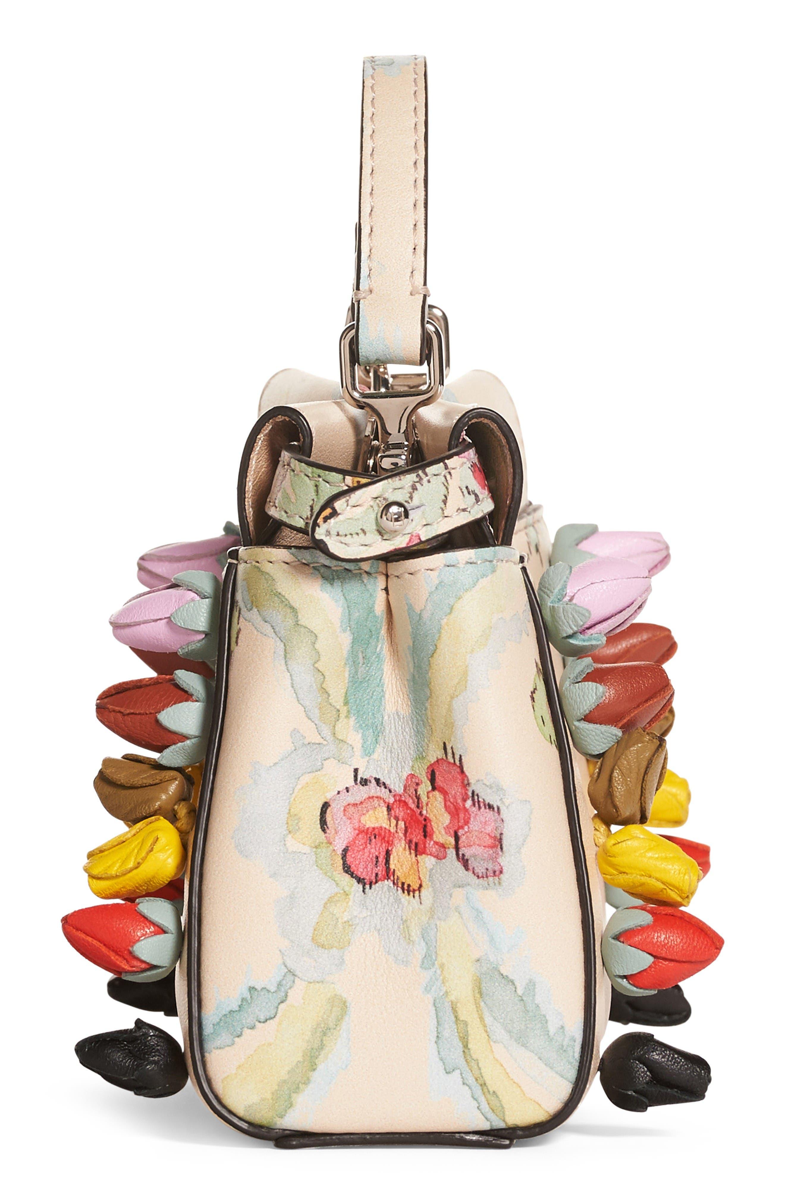 Alternate Image 4  - Fendi Micro Peekaboo Floral Appliqué Leather Satchel
