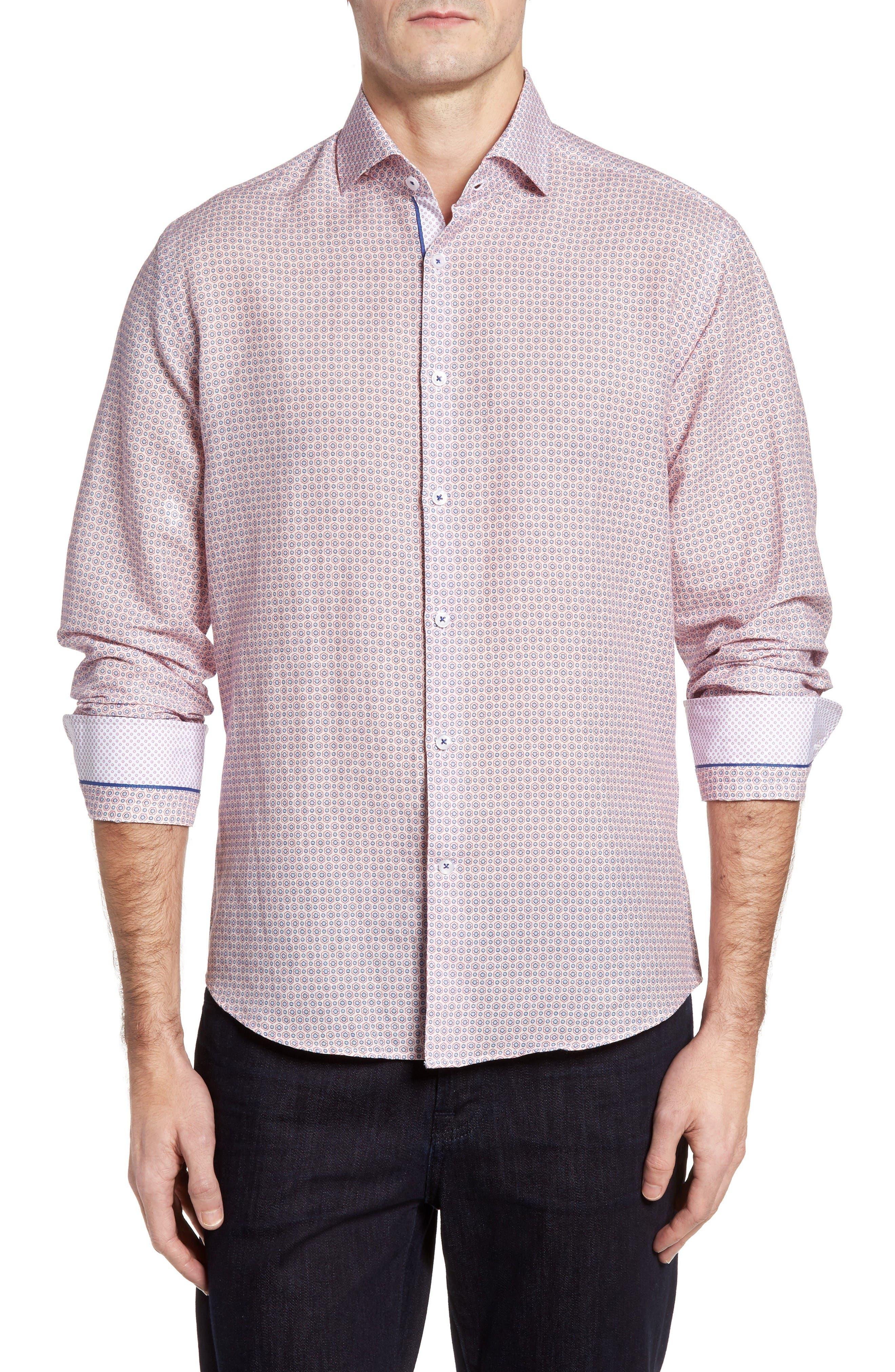 Stone Rose Trim Fit Geo Print Linen Blend Sport Shirt