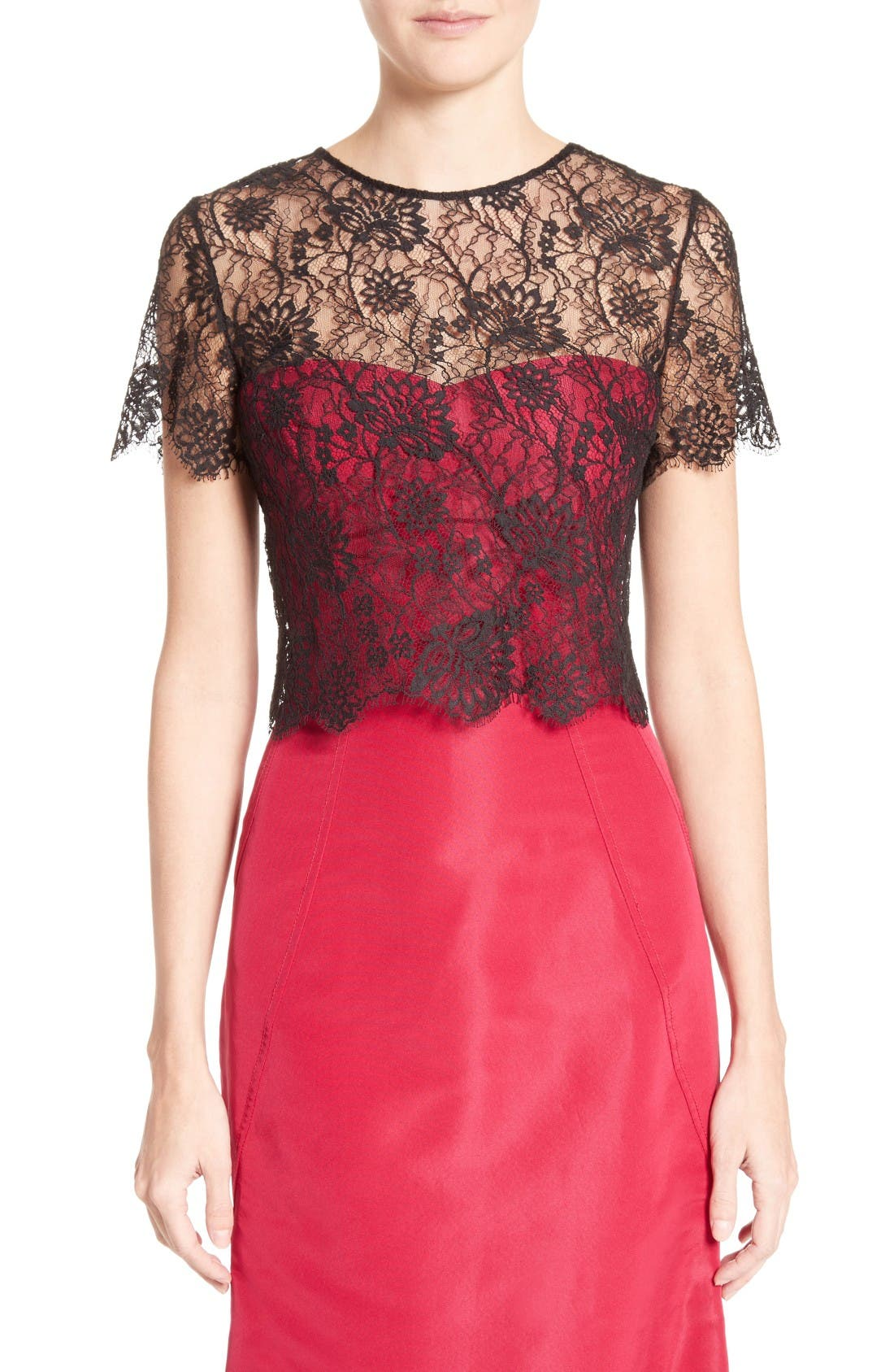 Alternate Image 1 Selected - Oscar de la Renta Tie Back Lace Bolero