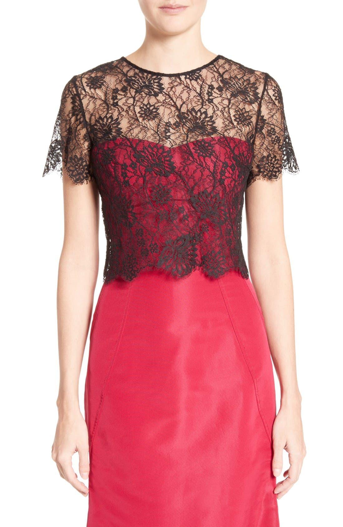 Main Image - Oscar de la Renta Tie Back Lace Bolero