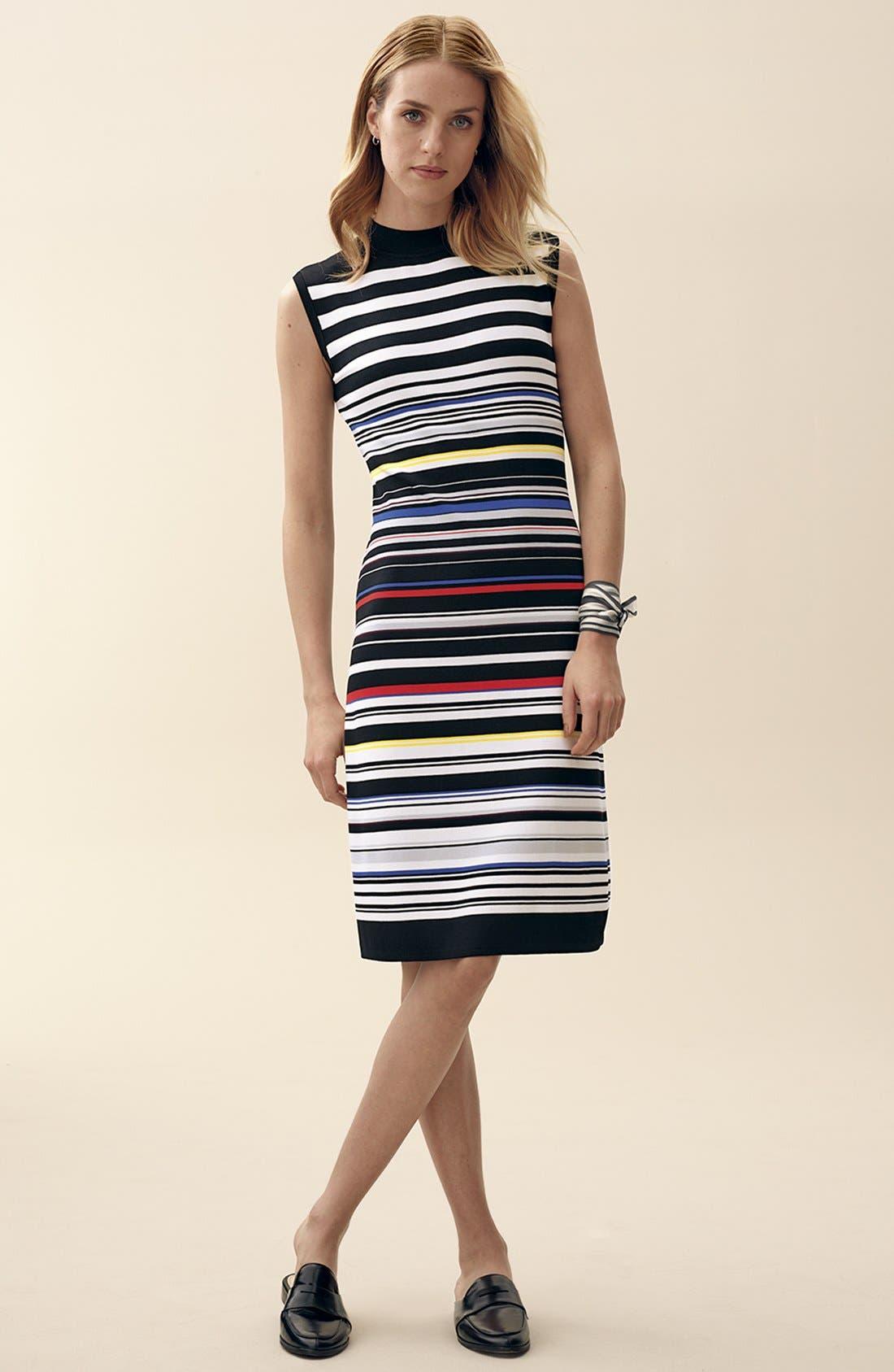 Sleeveless Mock Neck Knit Dress,                             Alternate thumbnail 2, color,                             Black- Red Stripe