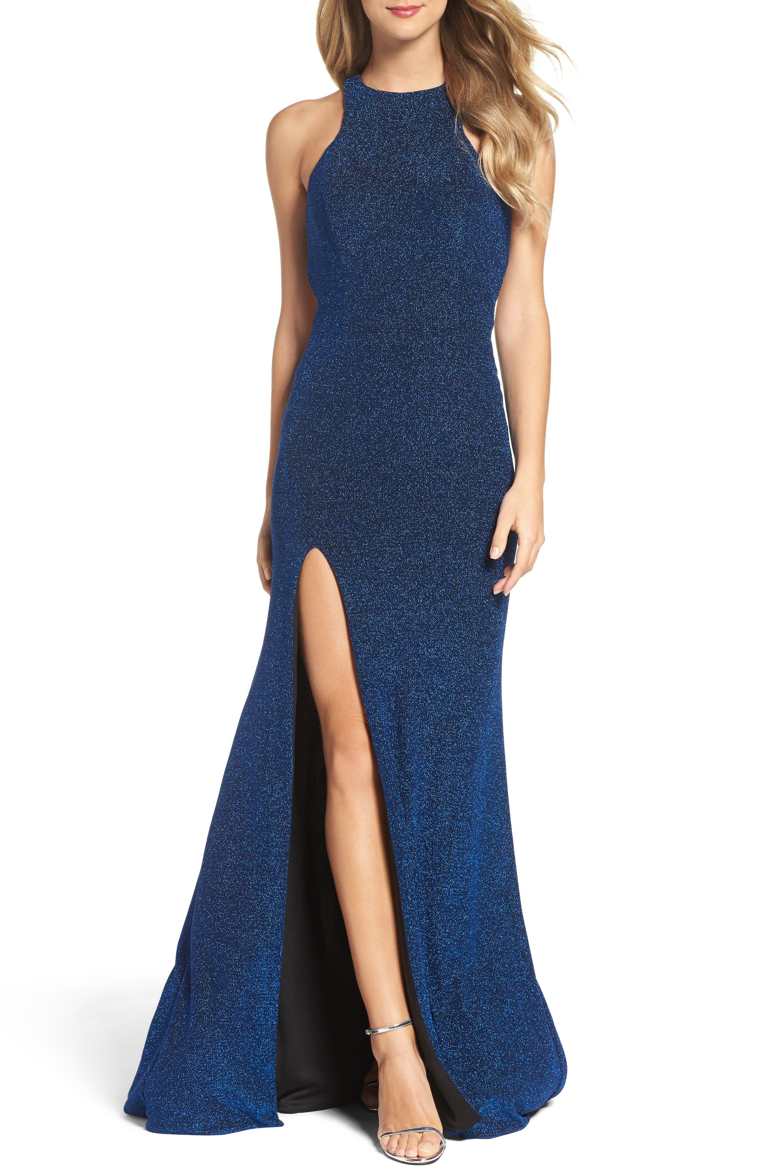 Alternate Image 1 Selected - La Femme Cutout Metallic Jersey Gown