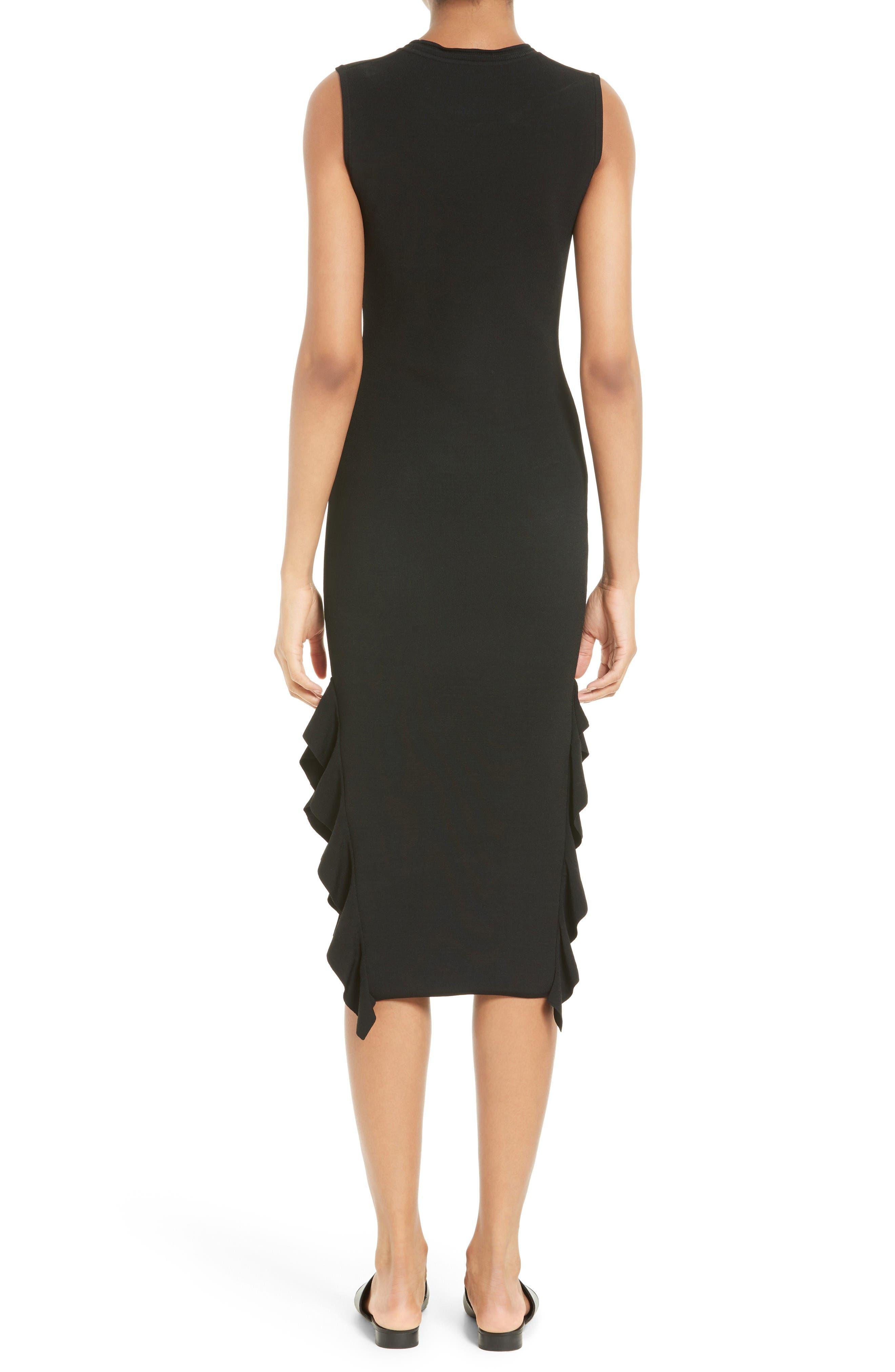 Flounce Hem Dress,                             Alternate thumbnail 2, color,                             Black