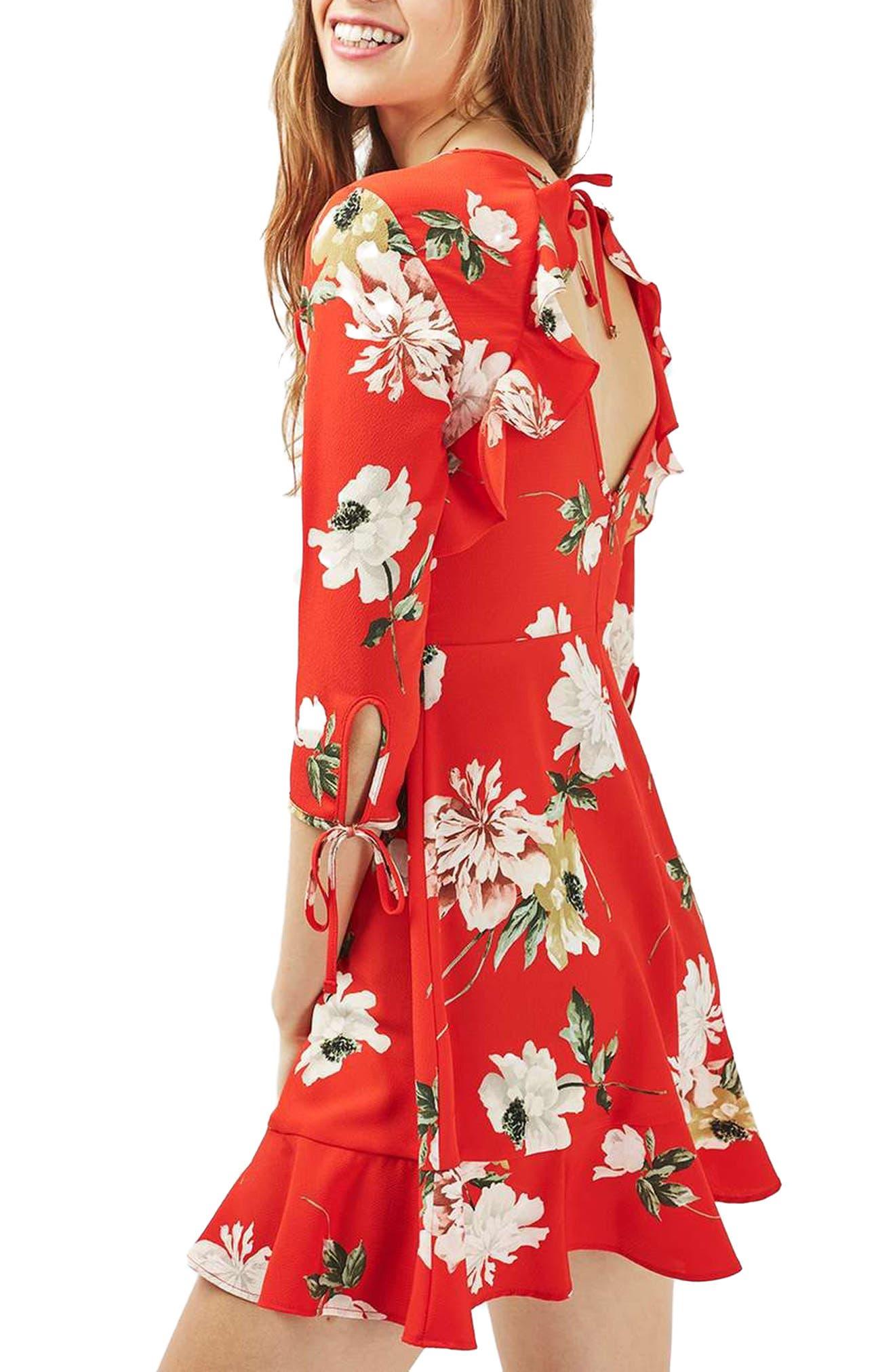 Ruffle Floral Tea Dress,                             Alternate thumbnail 3, color,                             Red Multi