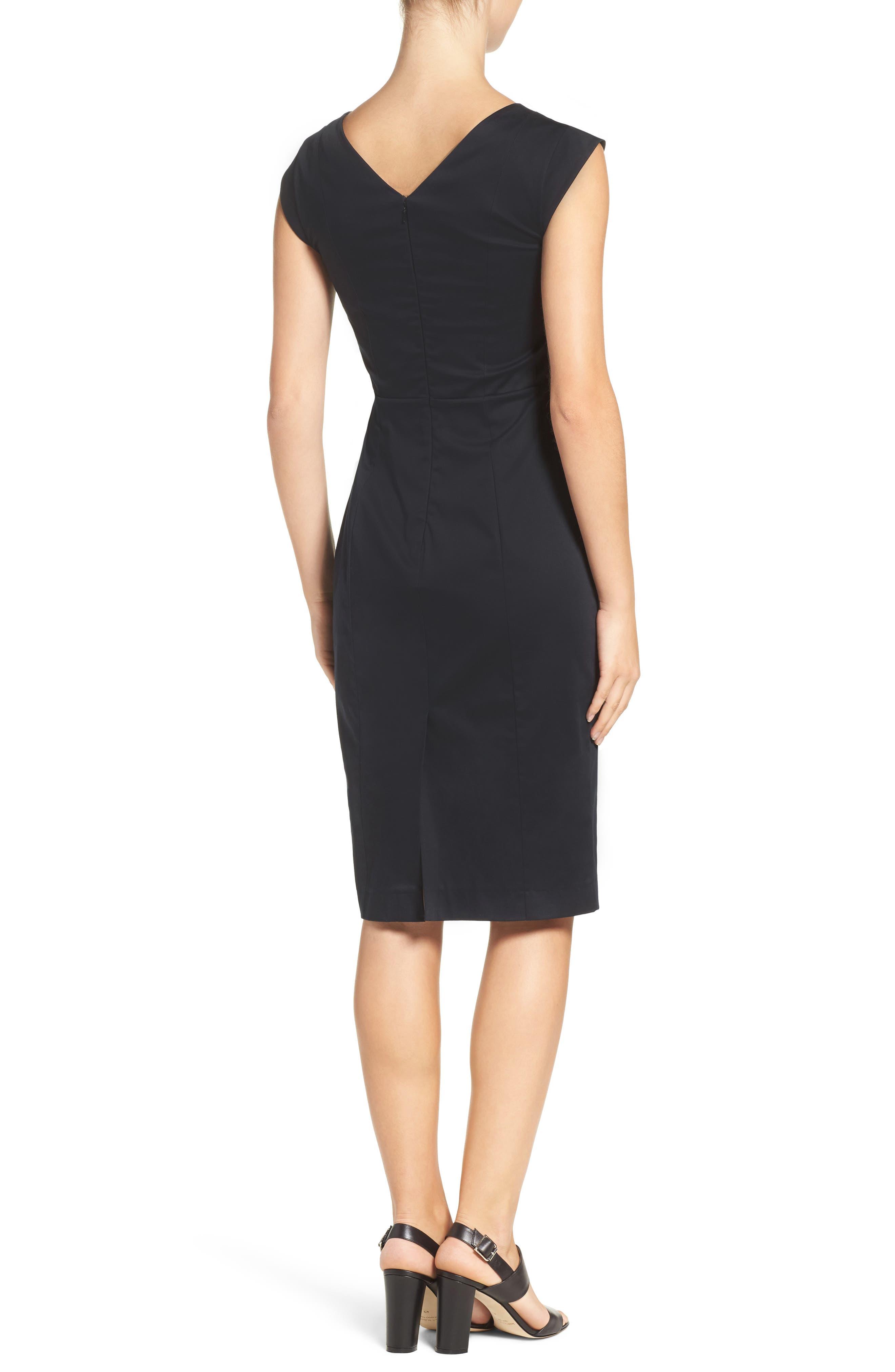 'Estelle' Cutout Cotton Blend Sheath Dress,                             Alternate thumbnail 2, color,                             Black/ Black