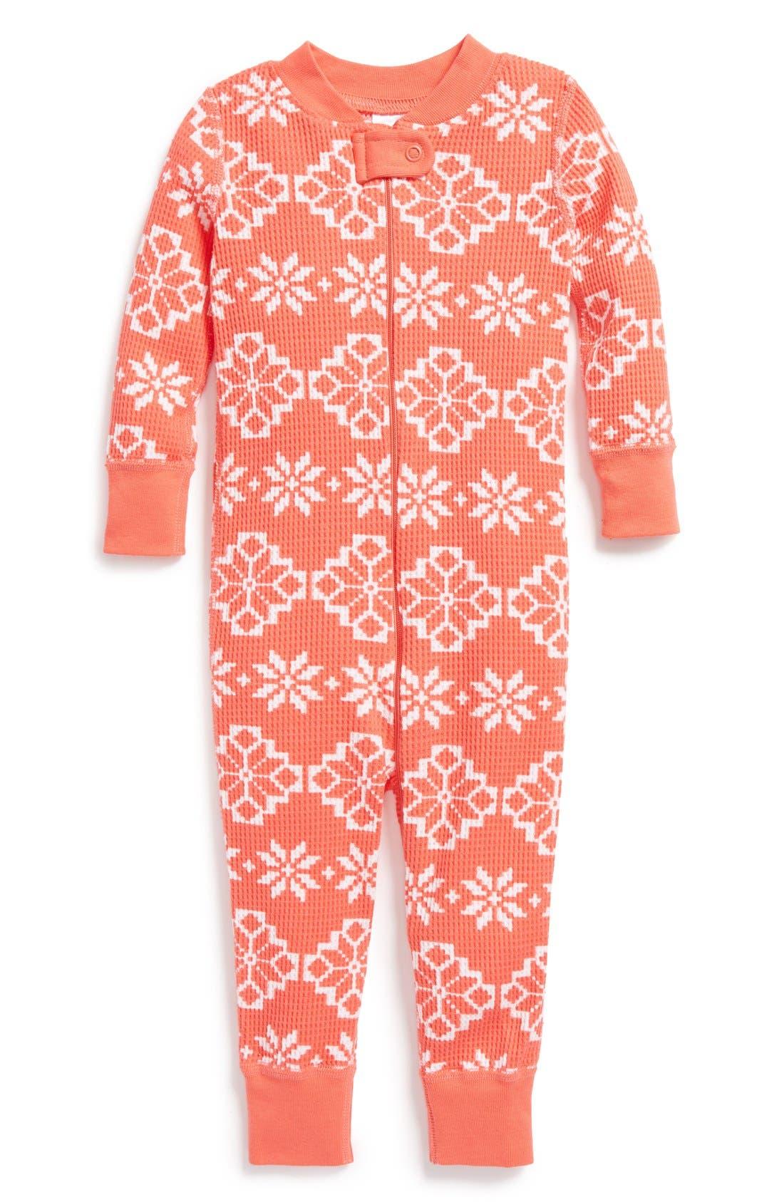 Alternate Image 1 Selected - Hanna Andersson Organic Cotton Romper Pajamas (Baby Girls)