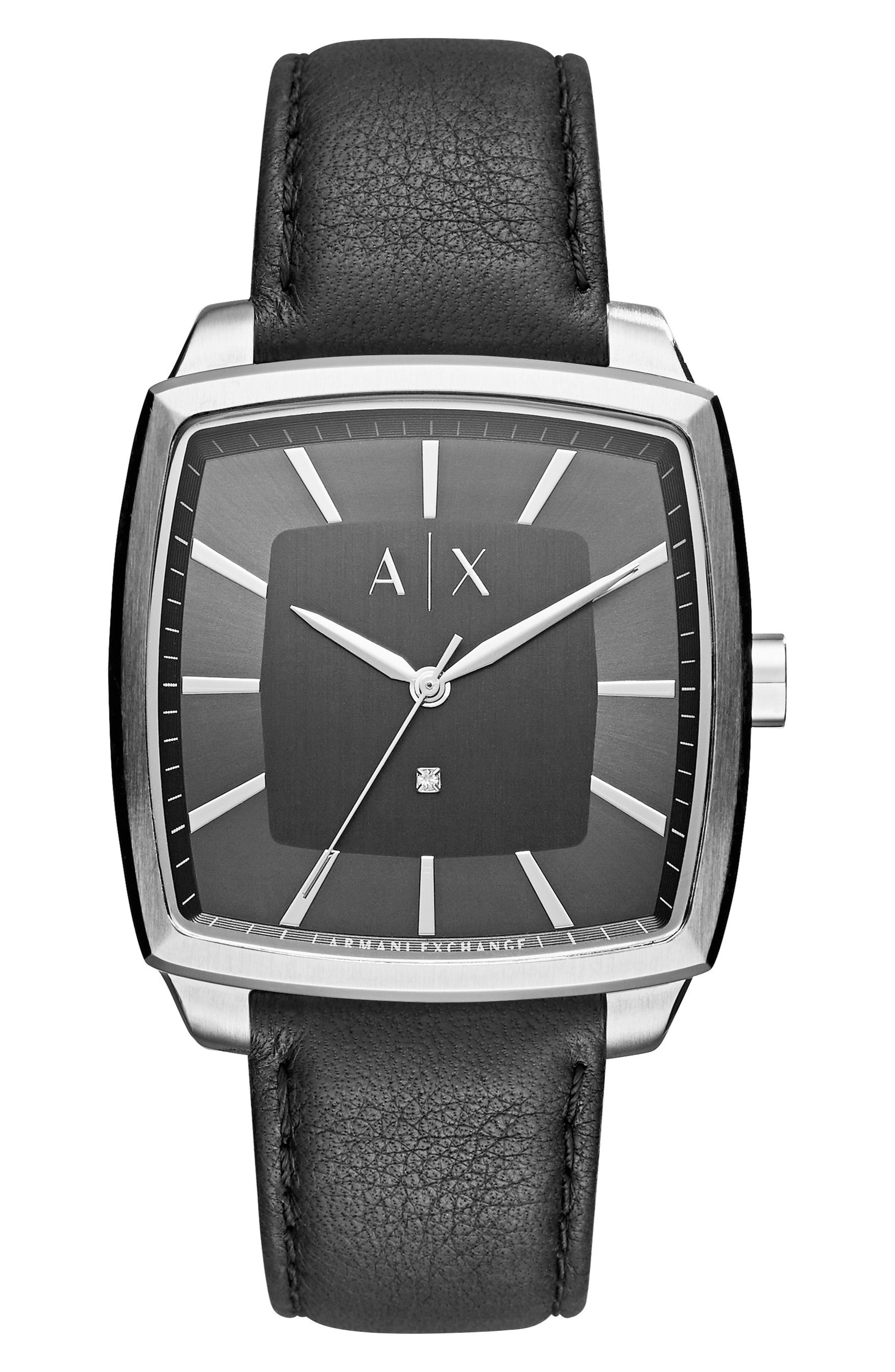 AX Armani Exchange Square Leather Strap Watch, 40mm
