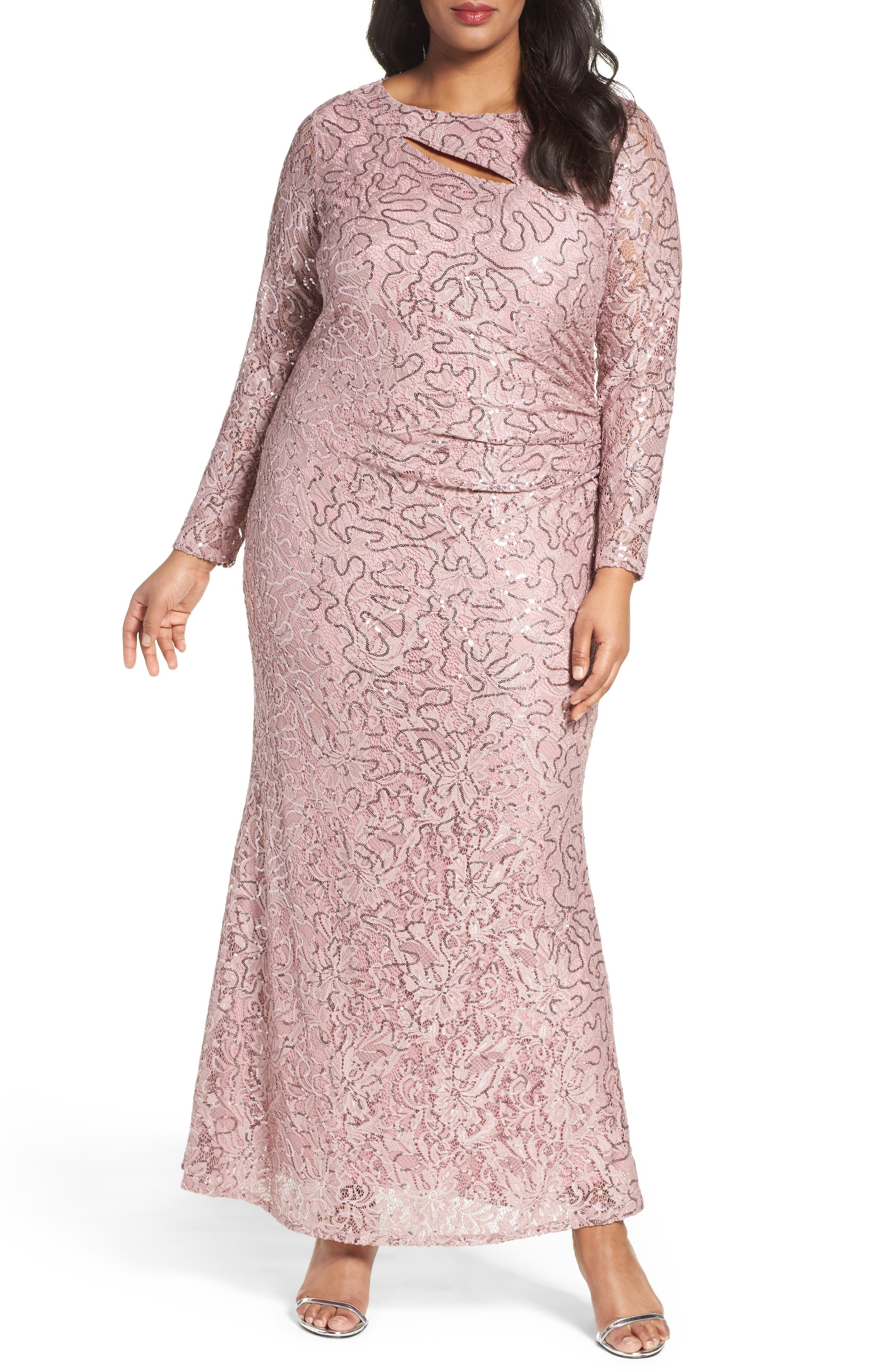 Sequin Lace Keyhole Gown,                         Main,                         color, Rose