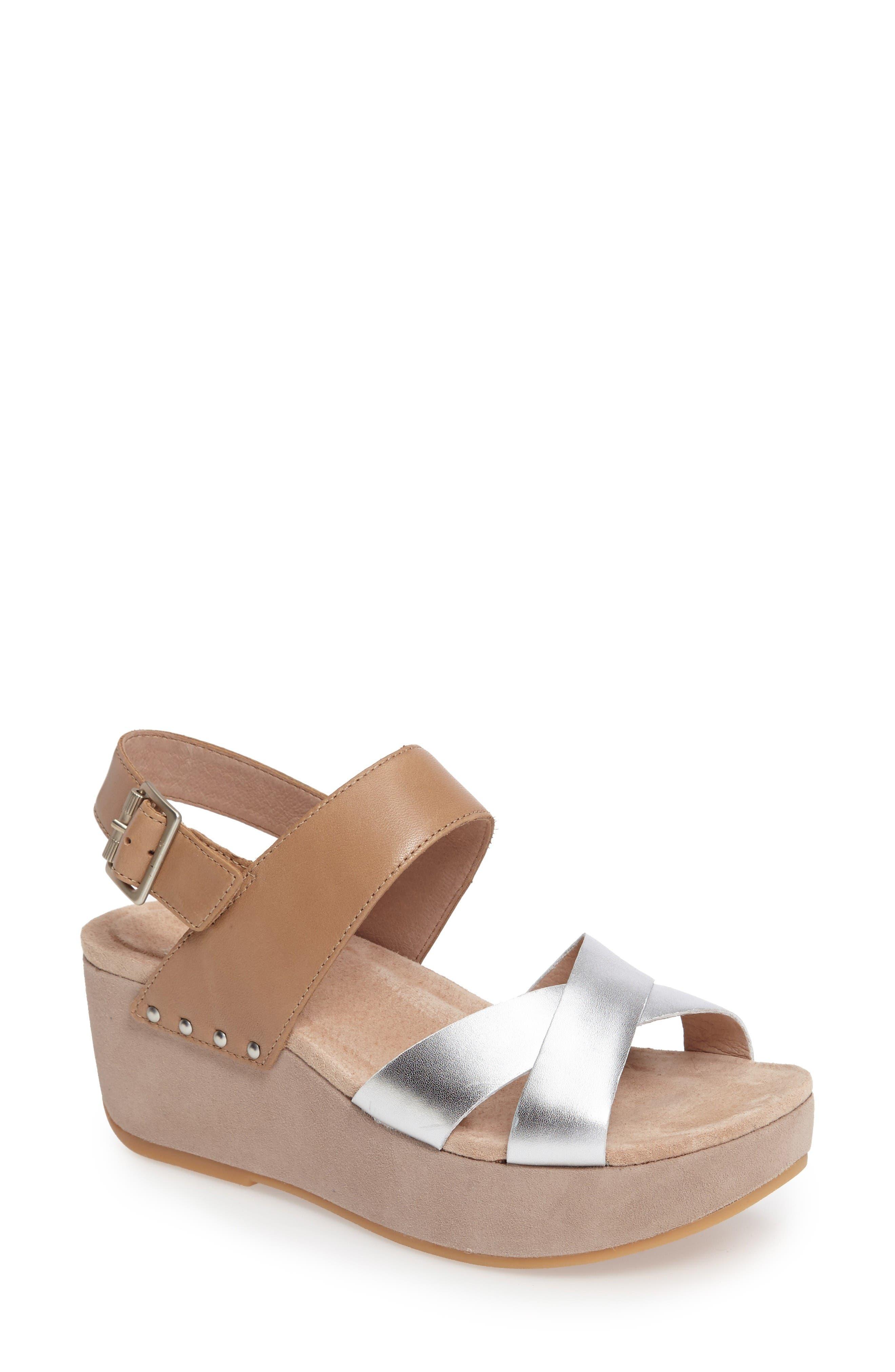 Stasia Platform Wedge Sandal,                         Main,                         color, Sand/ Silver Leather