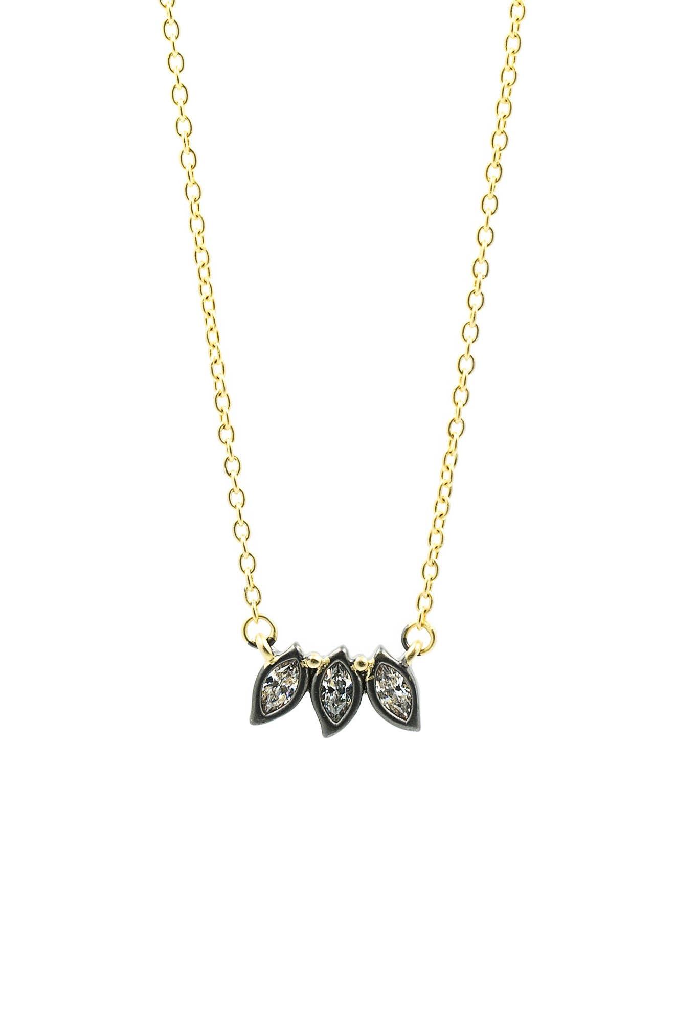 Main Image - FREIDA ROTHMAN Fleur Bloom Triple Leaf Pendant Necklace