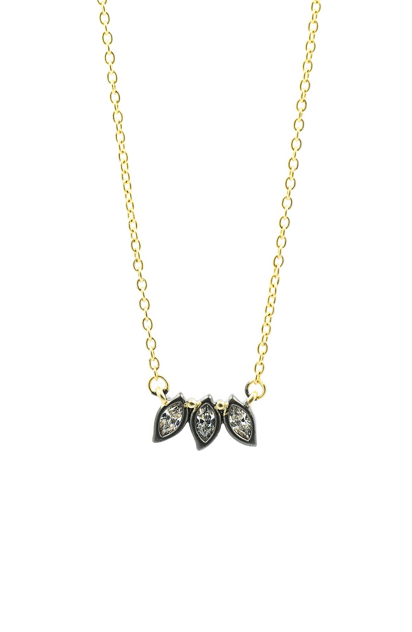 Fleur Bloom Triple Leaf Pendant Necklace,                         Main,                         color, Gold/ Black Rhodium