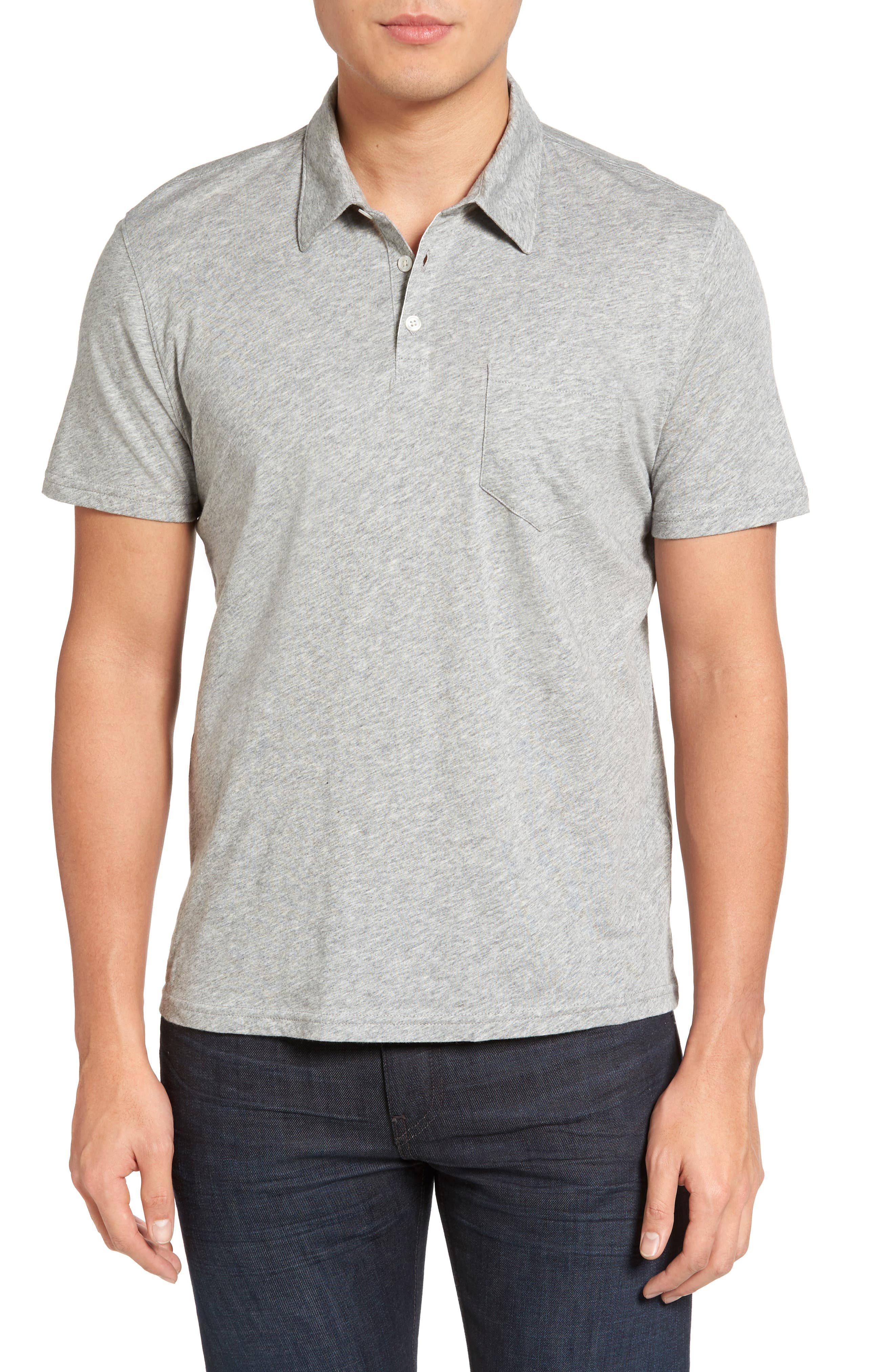 Breve Jersey Polo,                         Main,                         color, Light Grey