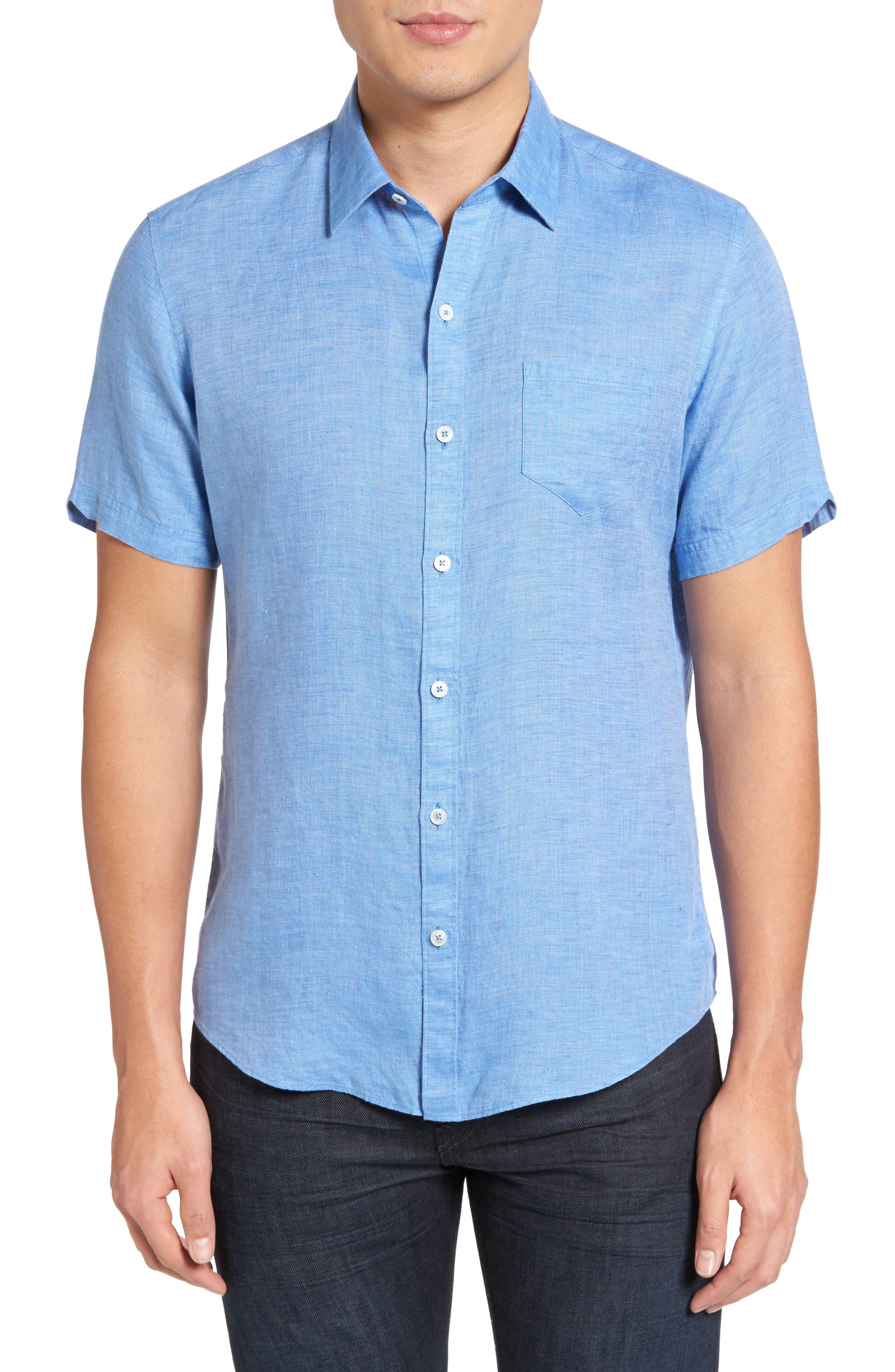 Zachary Prell Kaplan Slim Fit Linen Sport Shirt