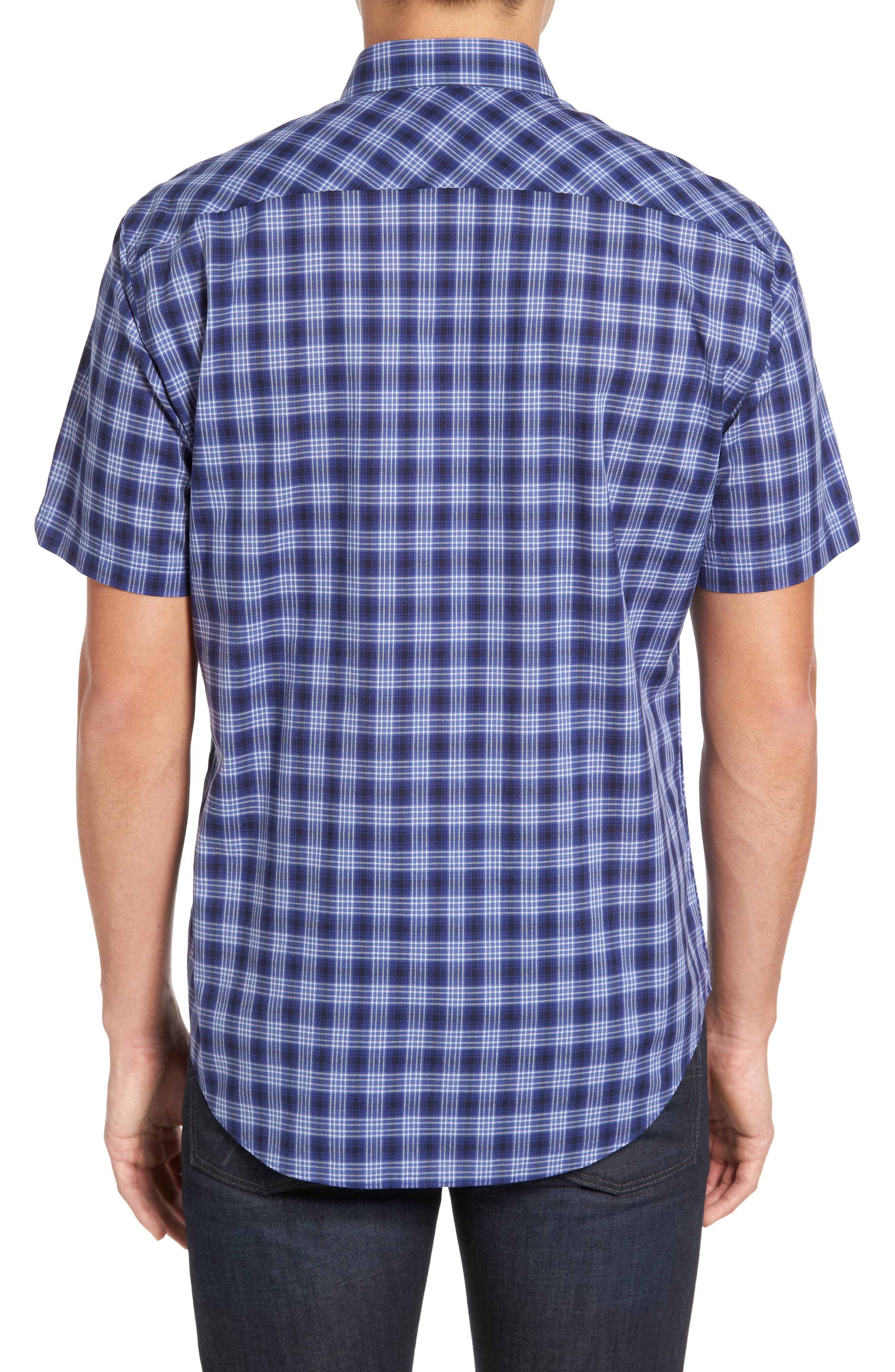 Medina Slim Fit Plaid Sport Shirt,                             Alternate thumbnail 2, color,                             Pacific