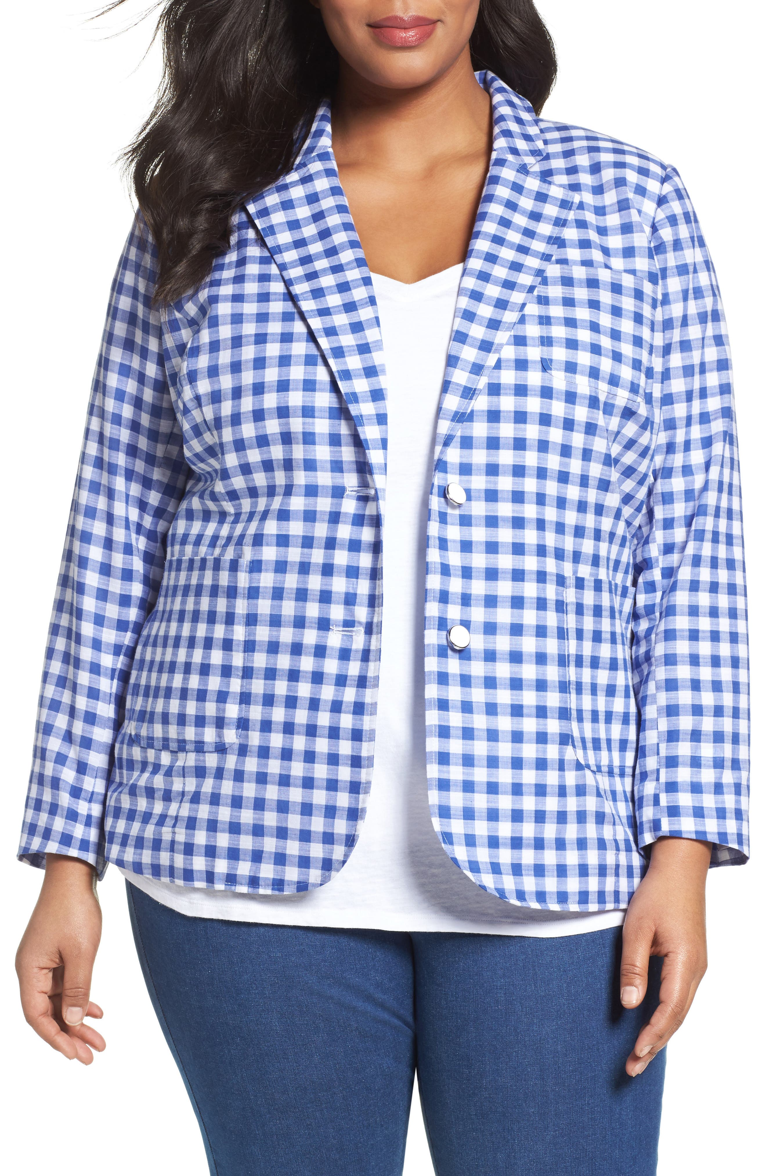 Gingham Blazer,                         Main,                         color, Blue Lagoon