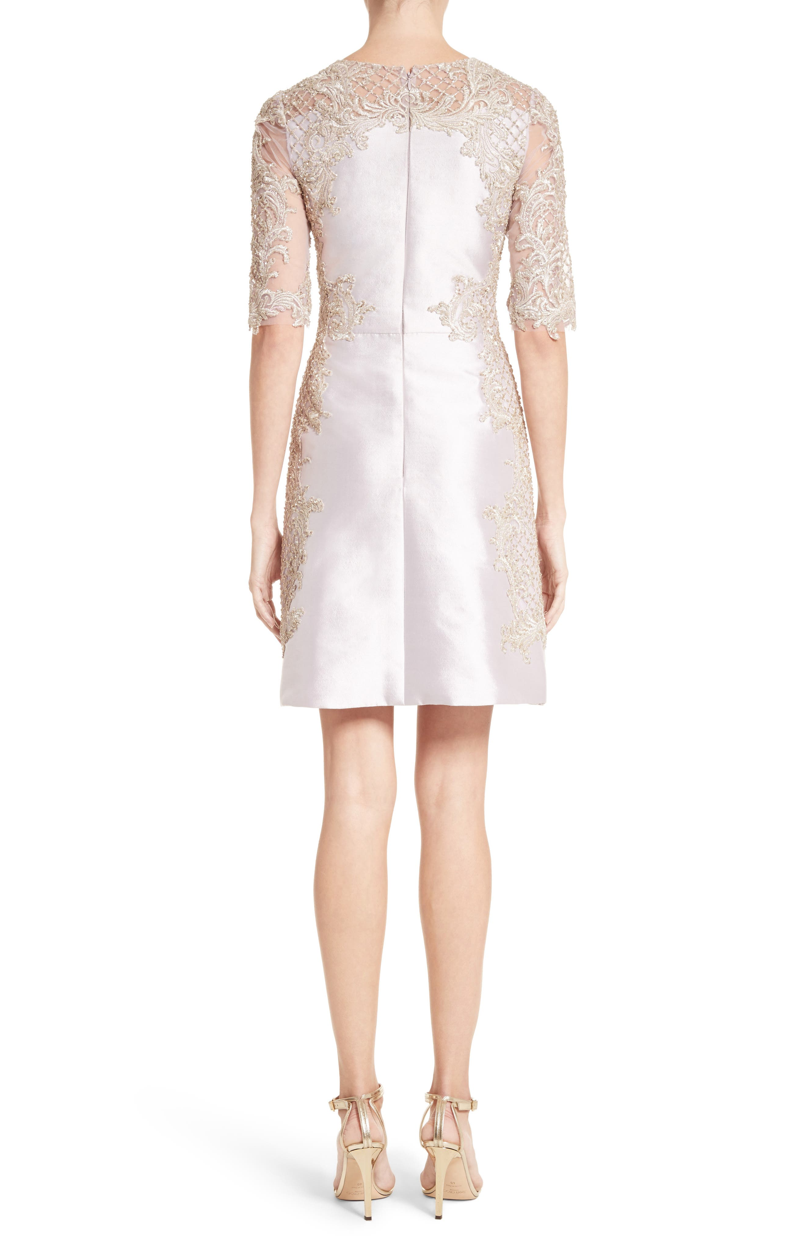 Alternate Image 2  - Marchesa Embellished Tulle & Wool Dress