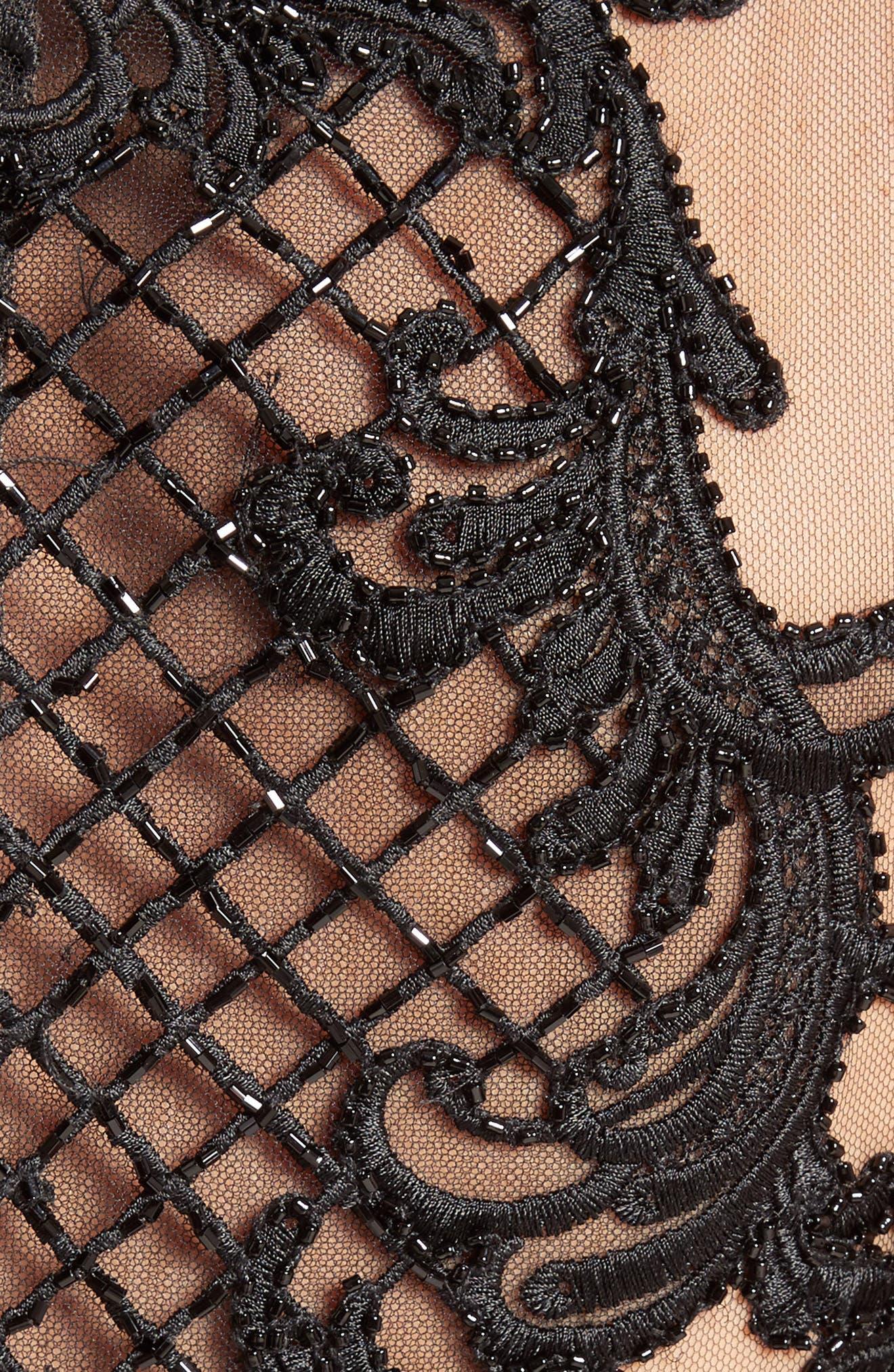 Embellished Tulle & Velvet Column Gown,                             Alternate thumbnail 3, color,                             Black