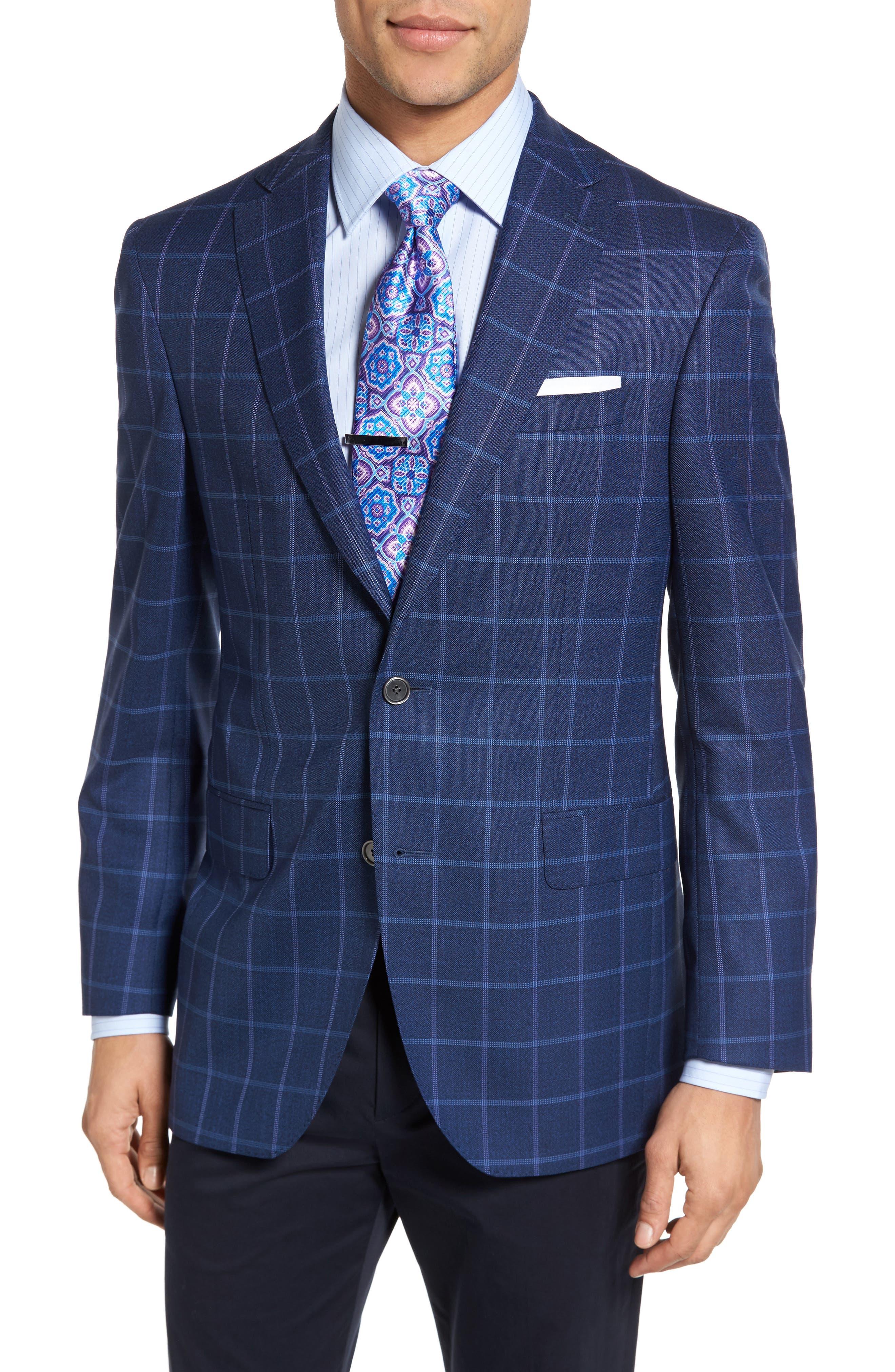 Connor Classic Fit Windowpane Wool Sport Coat,                         Main,                         color, Medium Blue