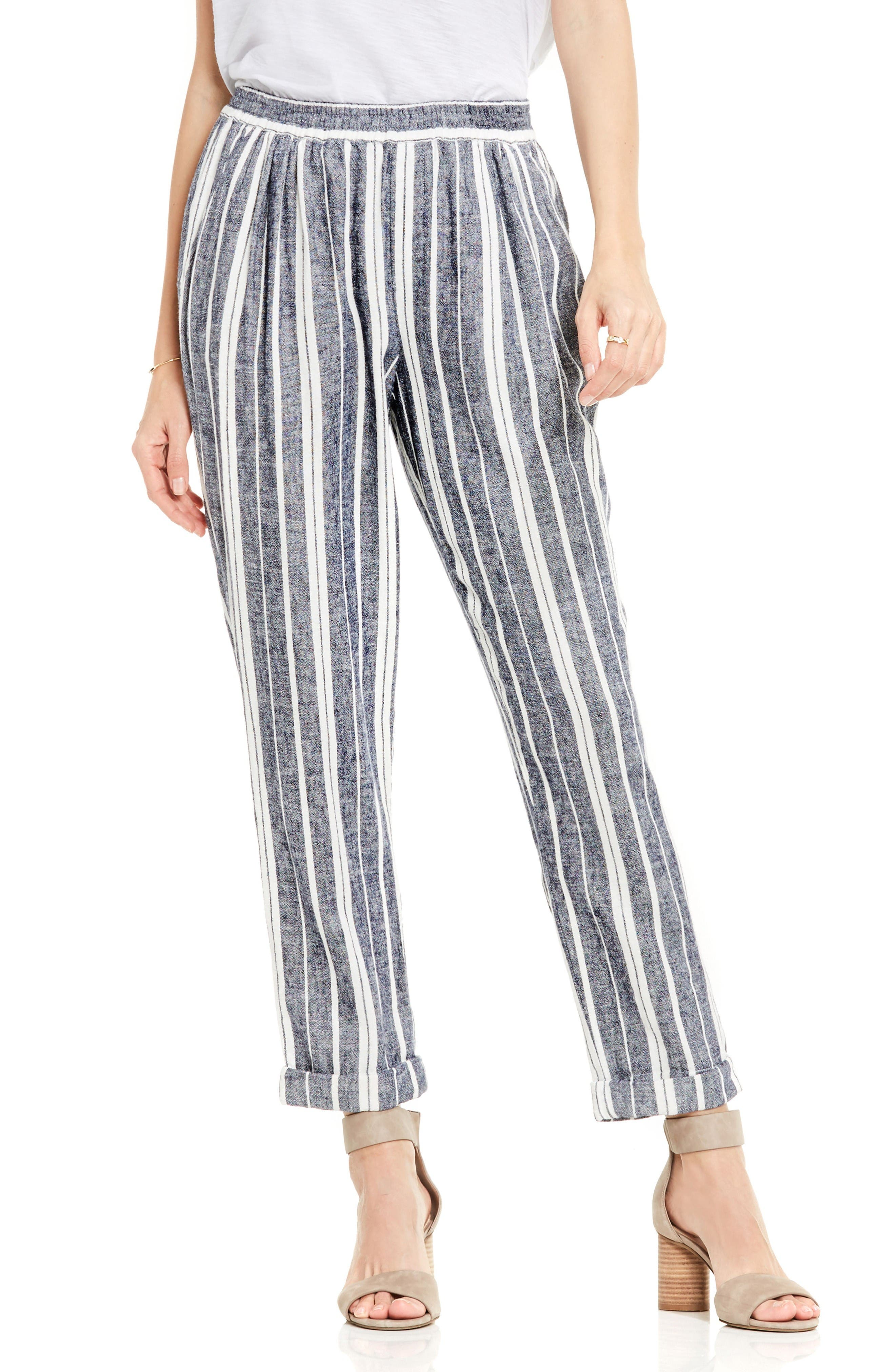 Stripe Linen Blend Ankle Pants,                             Main thumbnail 1, color,                             New Ivory