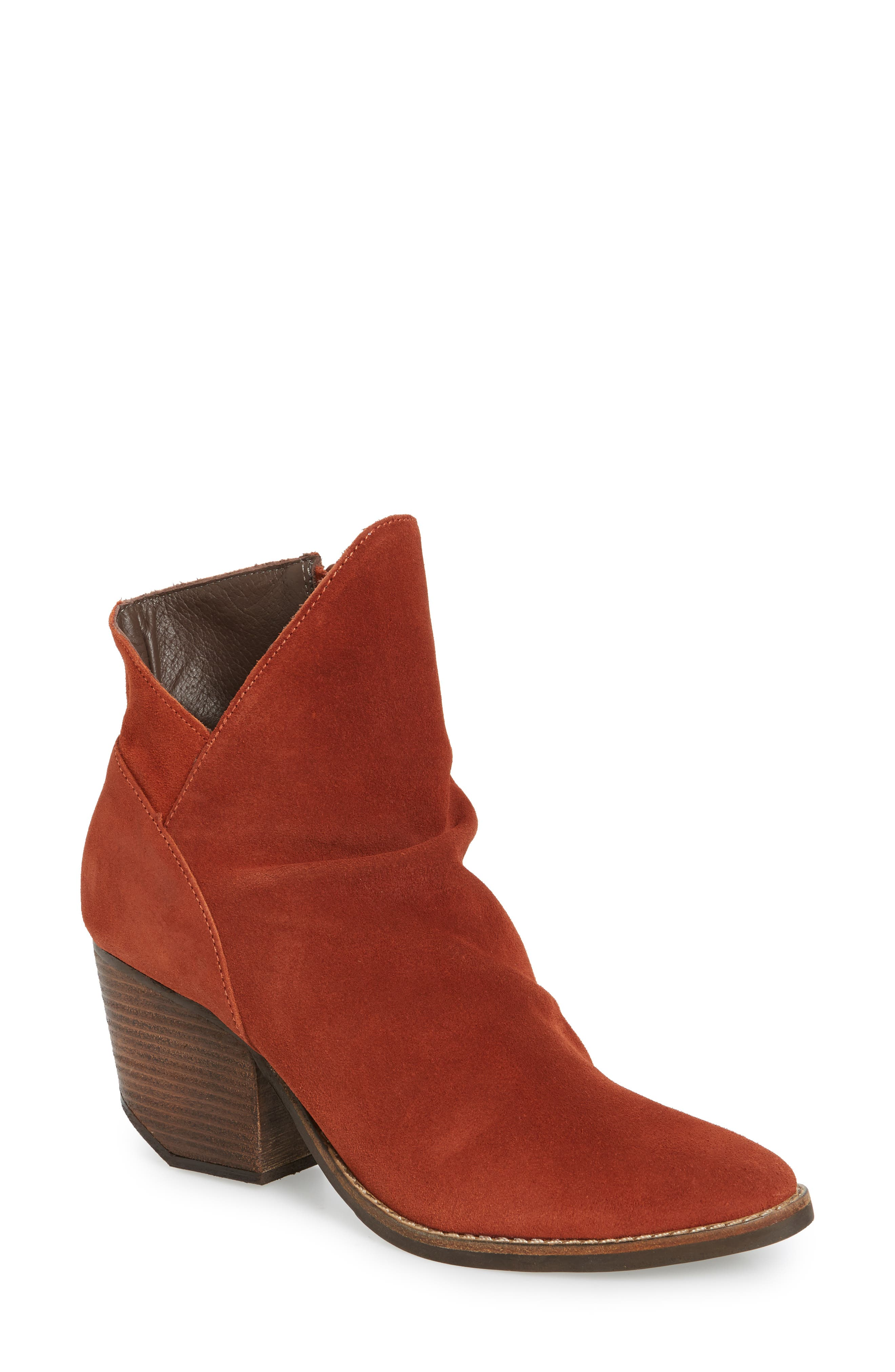 Society Bootie,                             Main thumbnail 1, color,                             Rust Suede