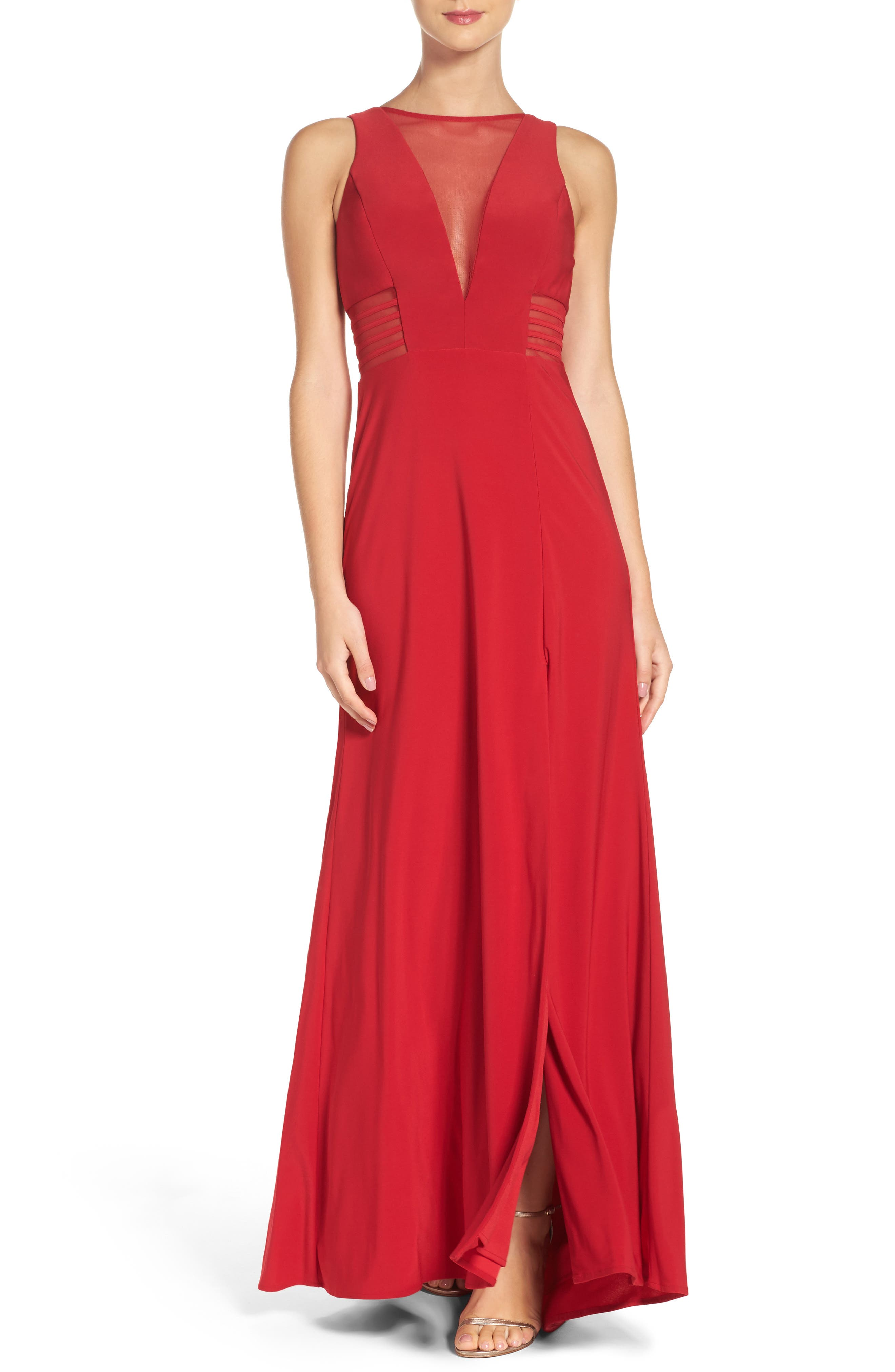 Illusion Gown,                         Main,                         color, Red