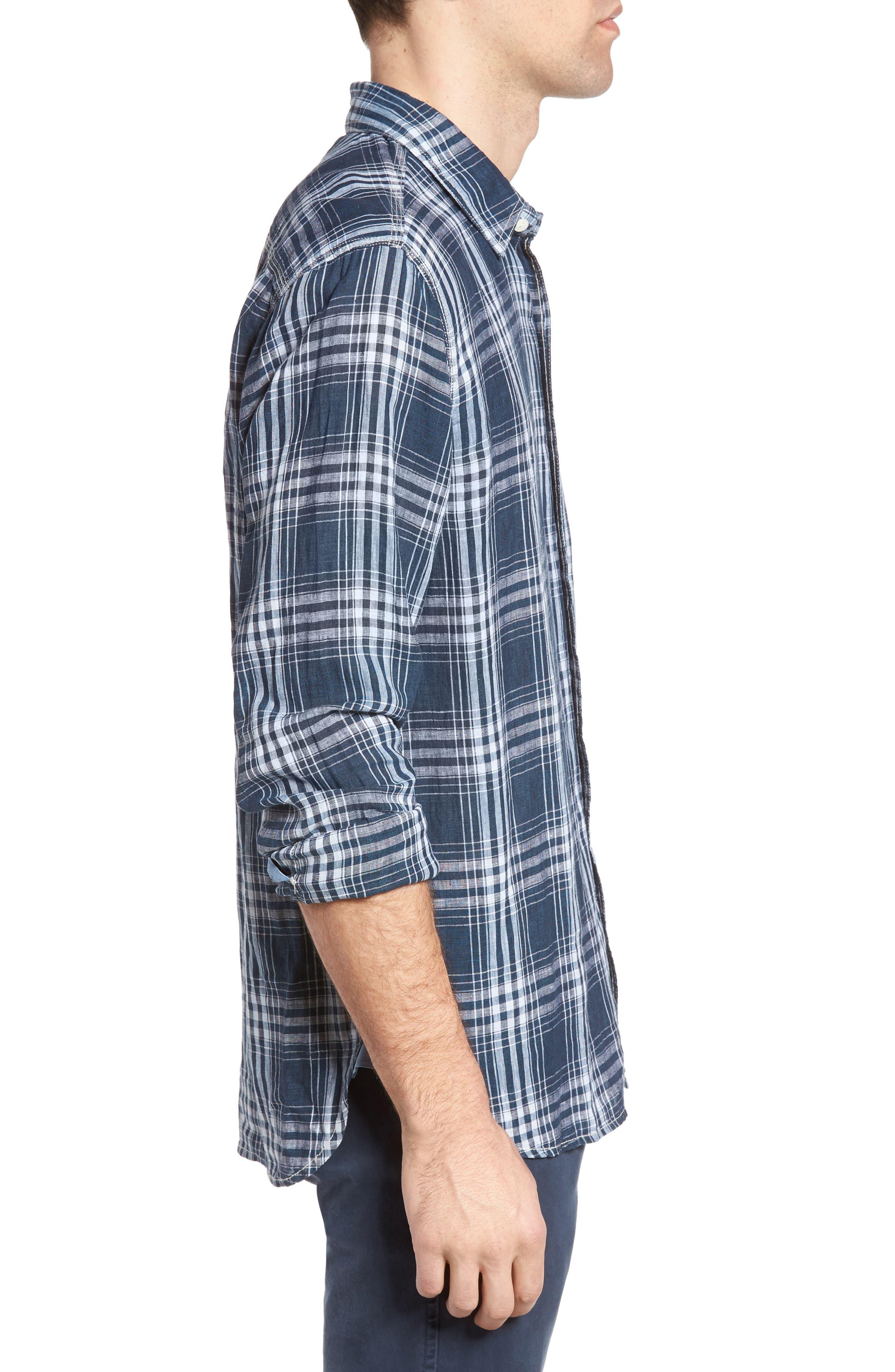 Alternate Image 3  - True Grit Indigo Plaid Sport Shirt