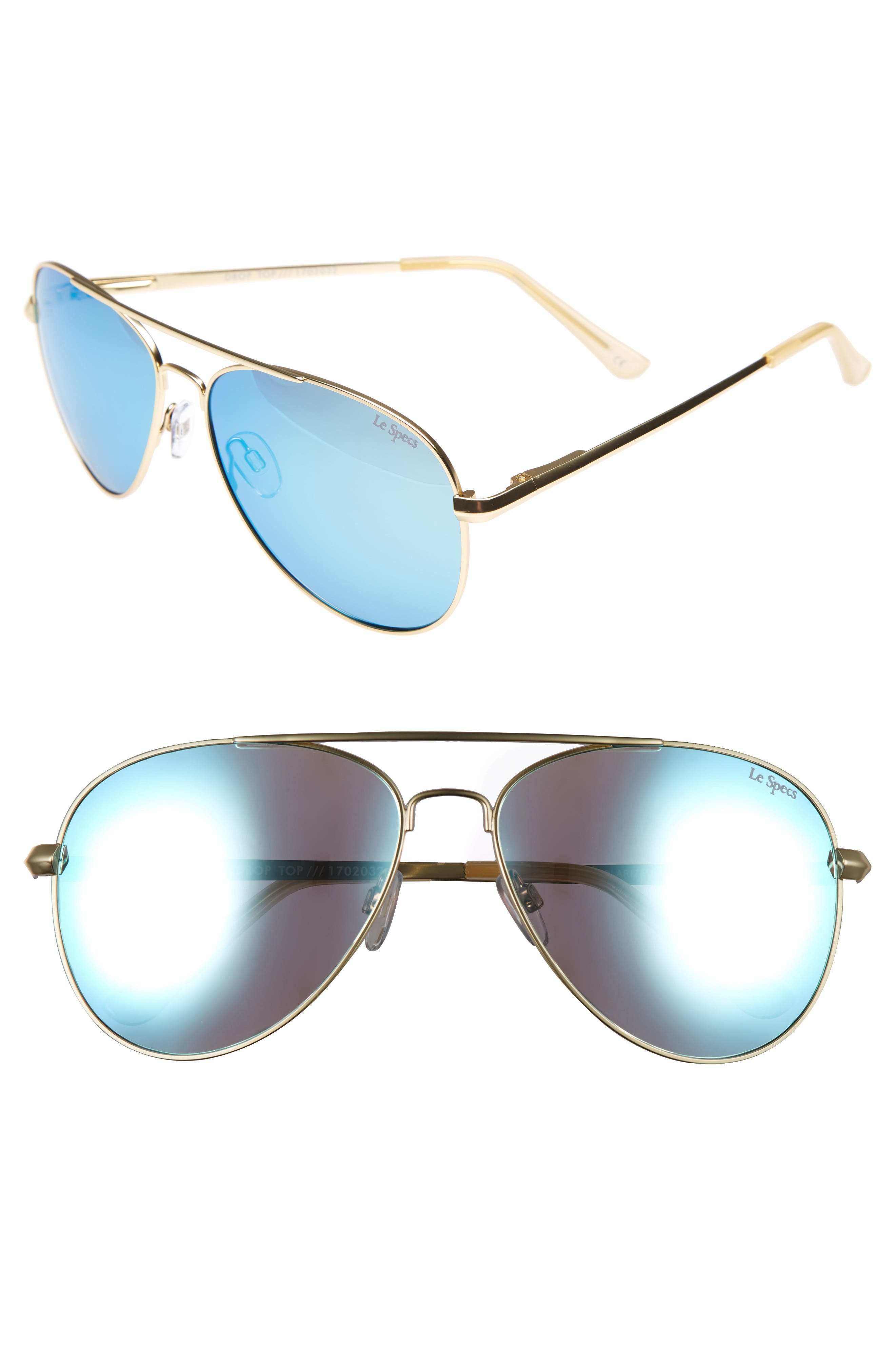 Drop Top 60mm Polarized Aviator Sunglasses,                         Main,                         color, Brushed Gold
