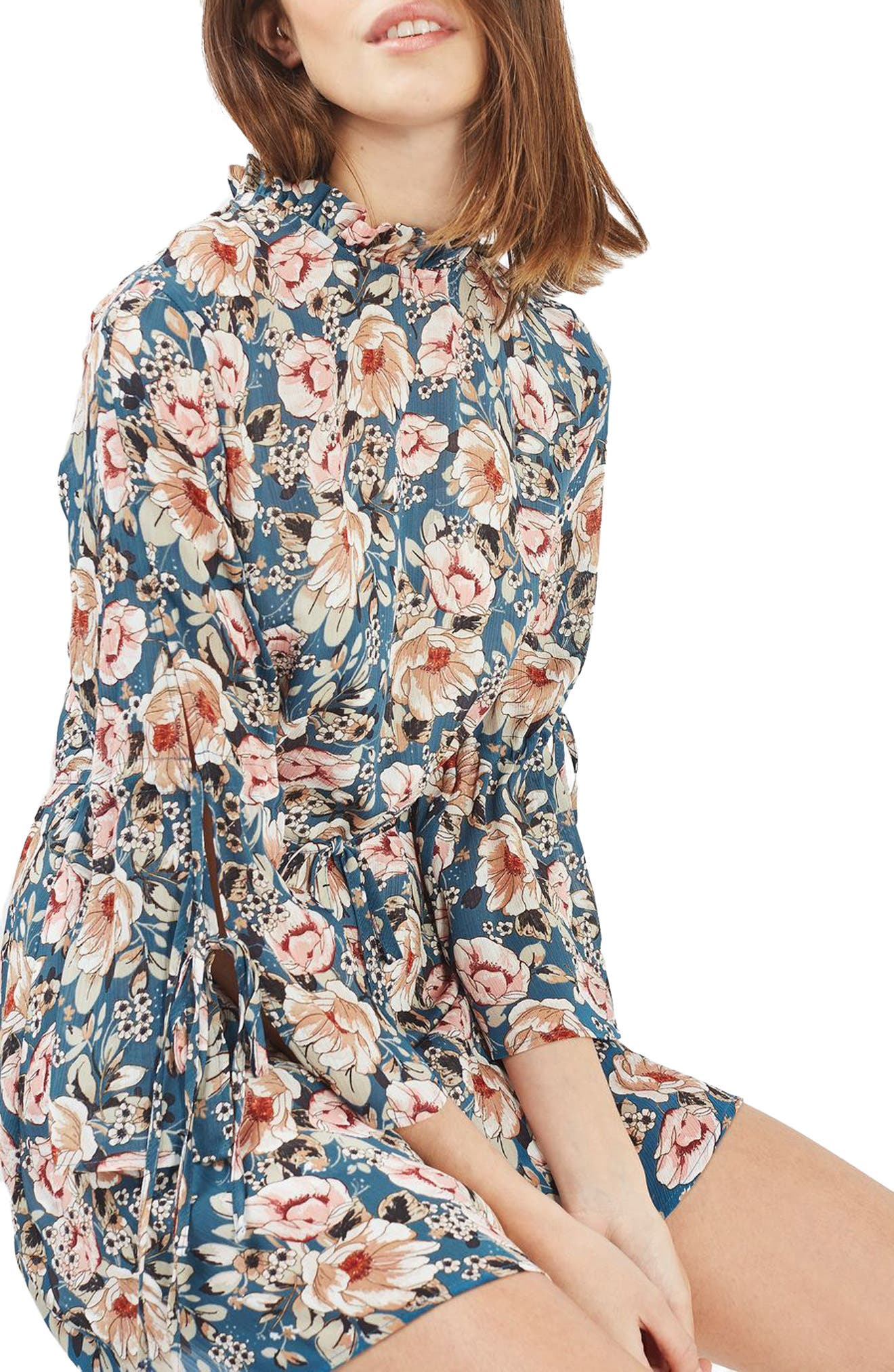 Peony Print Tea Dress,                         Main,                         color, Blue Multi