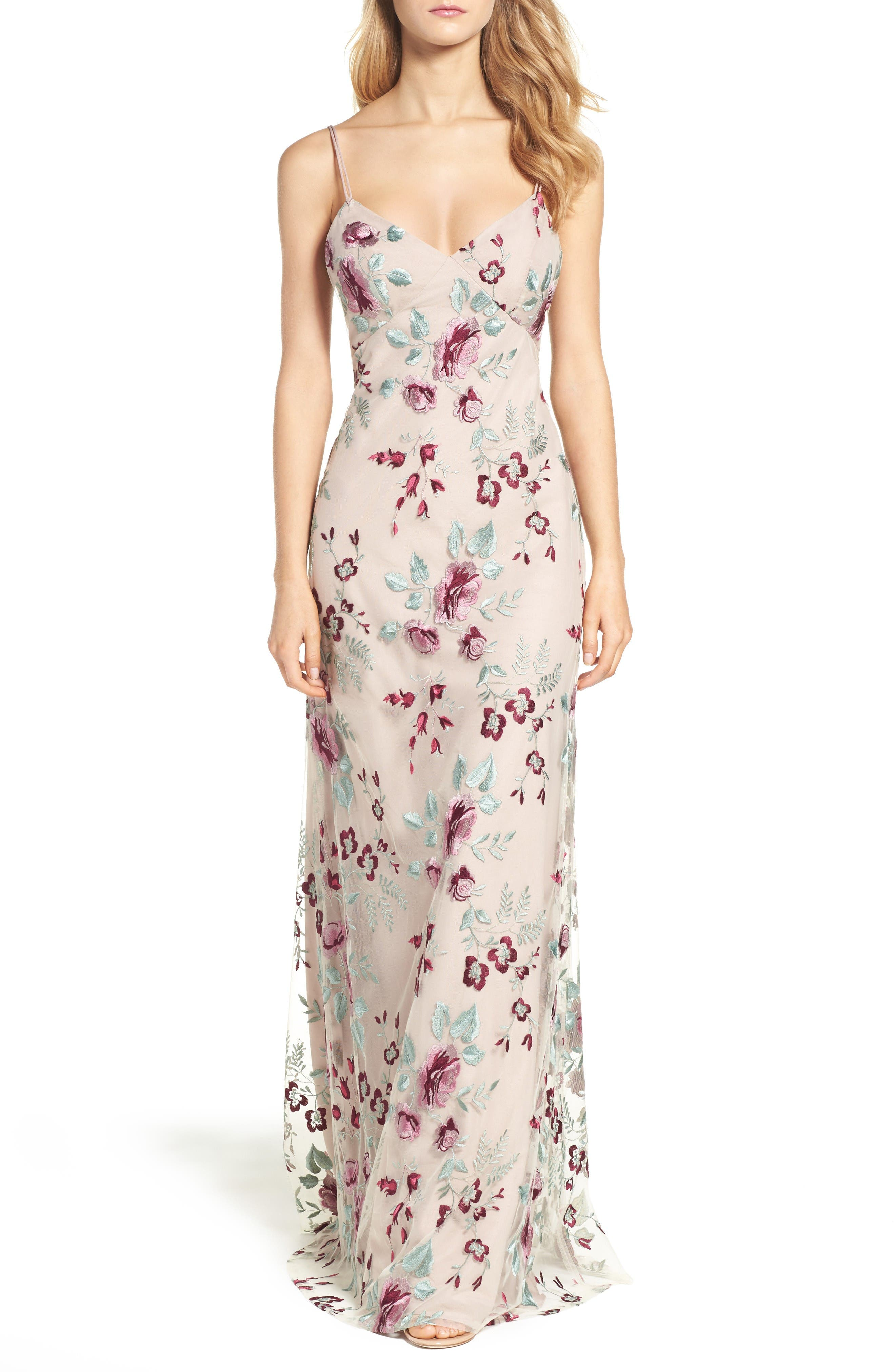 Julianna Embroidered Gown,                         Main,                         color, Berry Vintage Iris