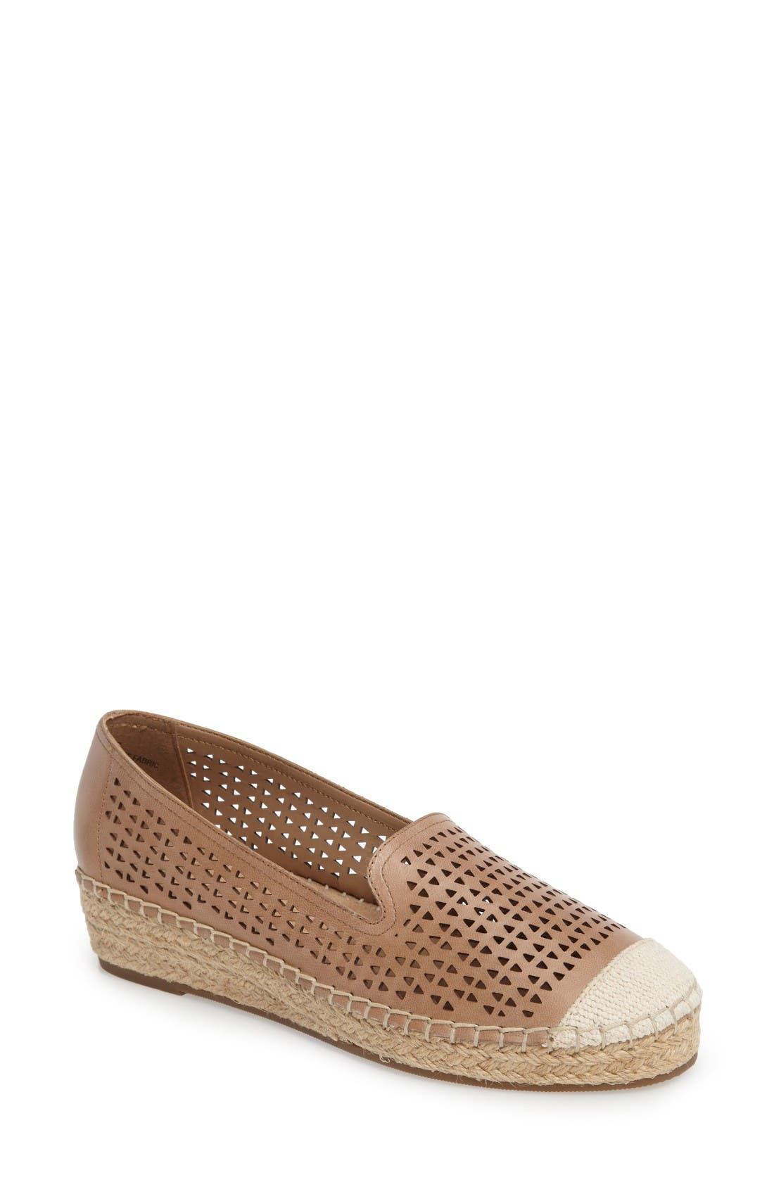 Channing Cutout Espadrille Loafer,                             Main thumbnail 1, color,                             Saddle Leather